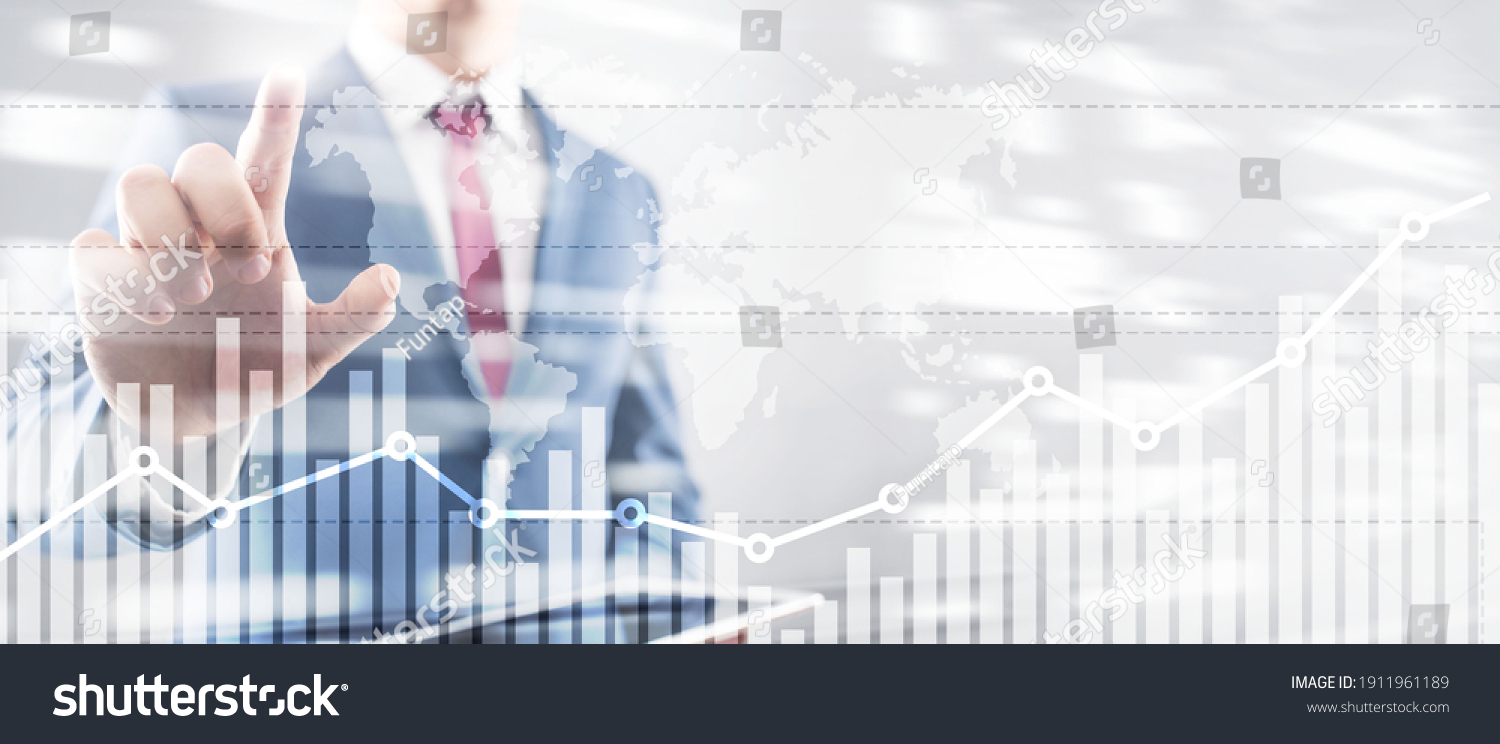 Business finance growth graph chart analysing diagram trading and forex exchange concept double exposure mixed media background website header. #1911961189