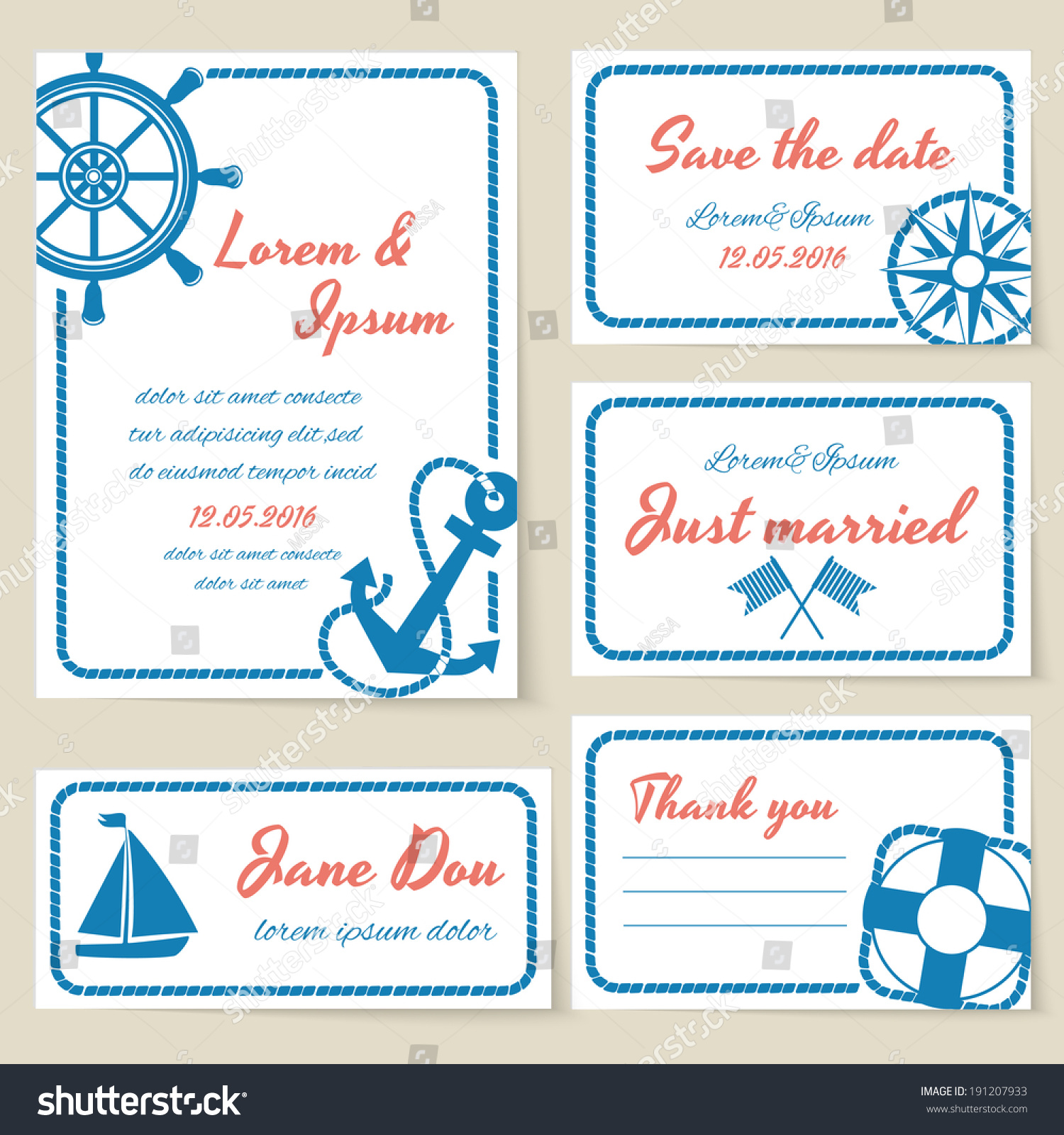 Nautical Themed Wedding Invitation Greeting Cards Stock Vector ...