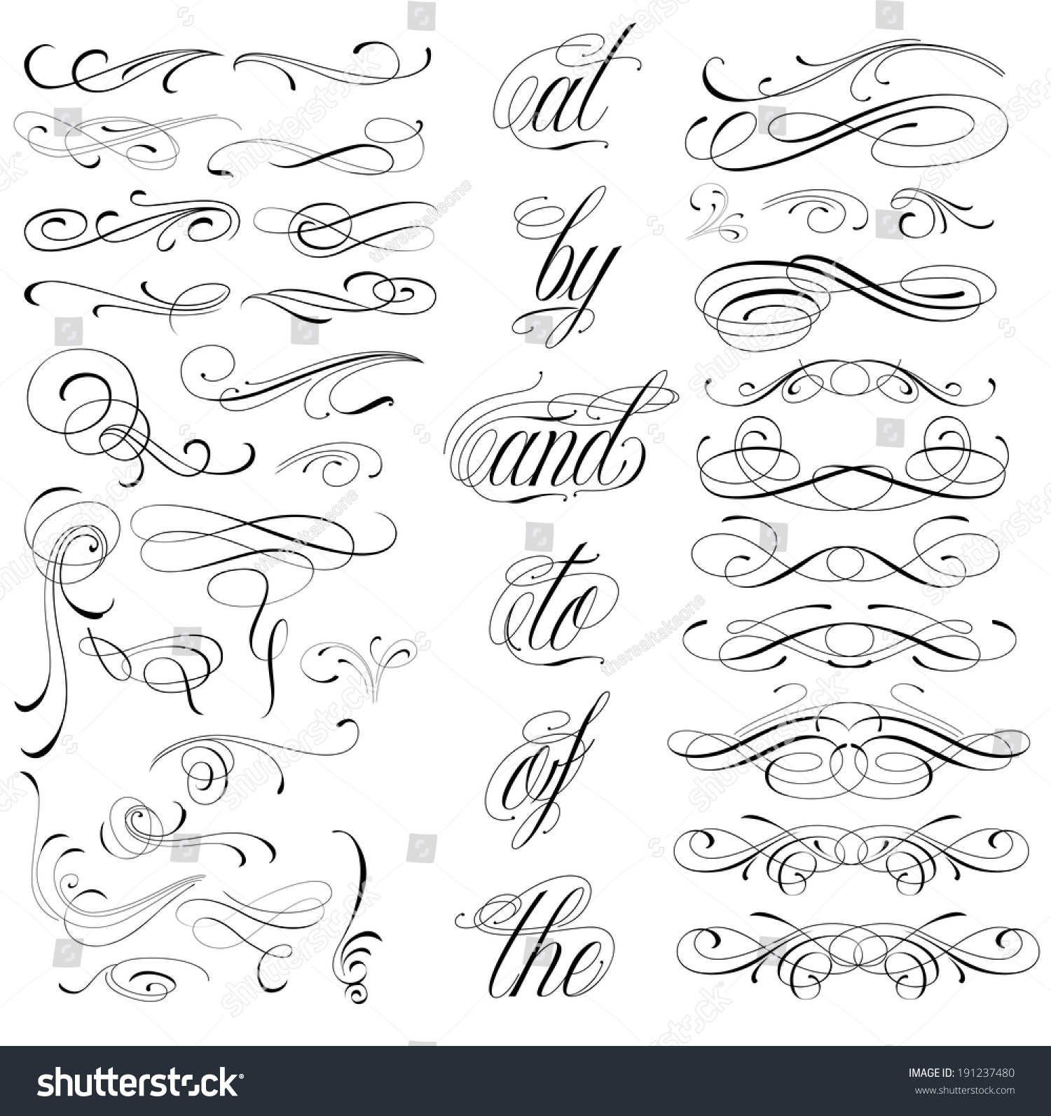 Handmade Tattoo Lettering Decorative Elements Stock Vector ...