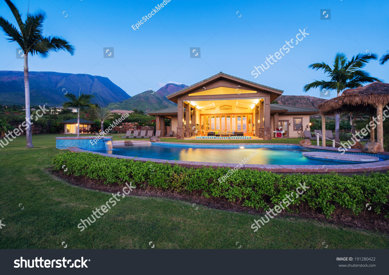 Luxury Home Swimming Pool Sunset Tropical Stock Photo 191280422 Shutterstock