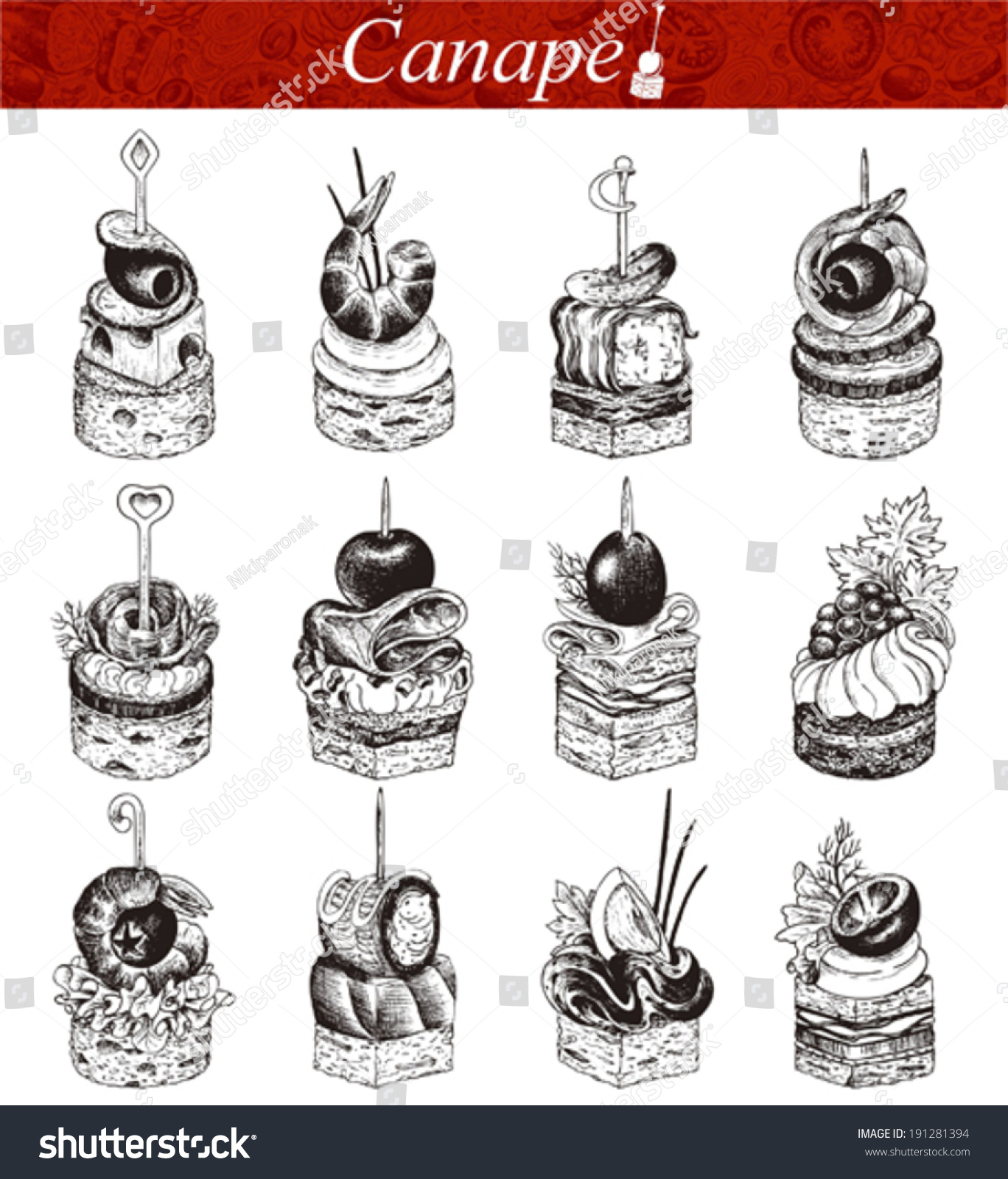 Canape vector collection handdrawn illustration stock for Canape vector download