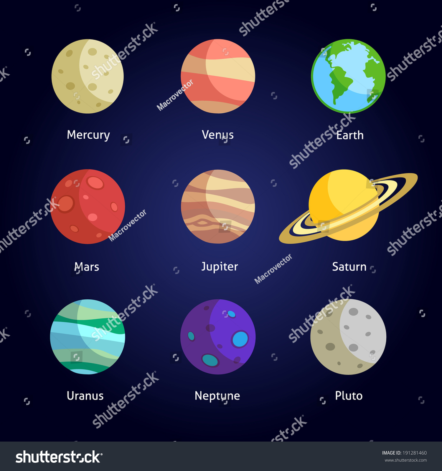 Solar System Planets Decorative Icons Set Stock Vector ...