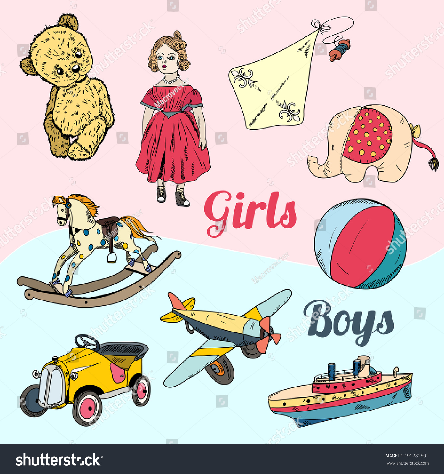 Vintage Kids Girls Boys Toys Sketch Stock Vector