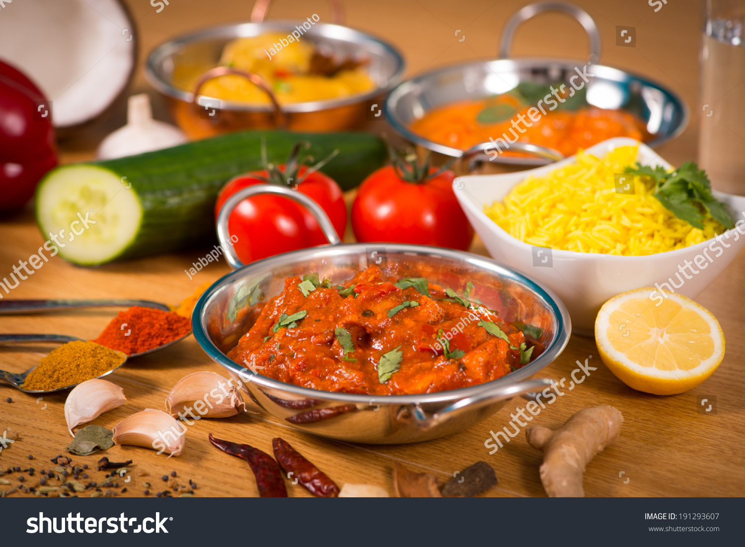 Indian food chicken jalfrezi curry balti stock photo 191293607 indian food chicken jalfrezi curry in balti dish decoration set of vegetables forumfinder Gallery
