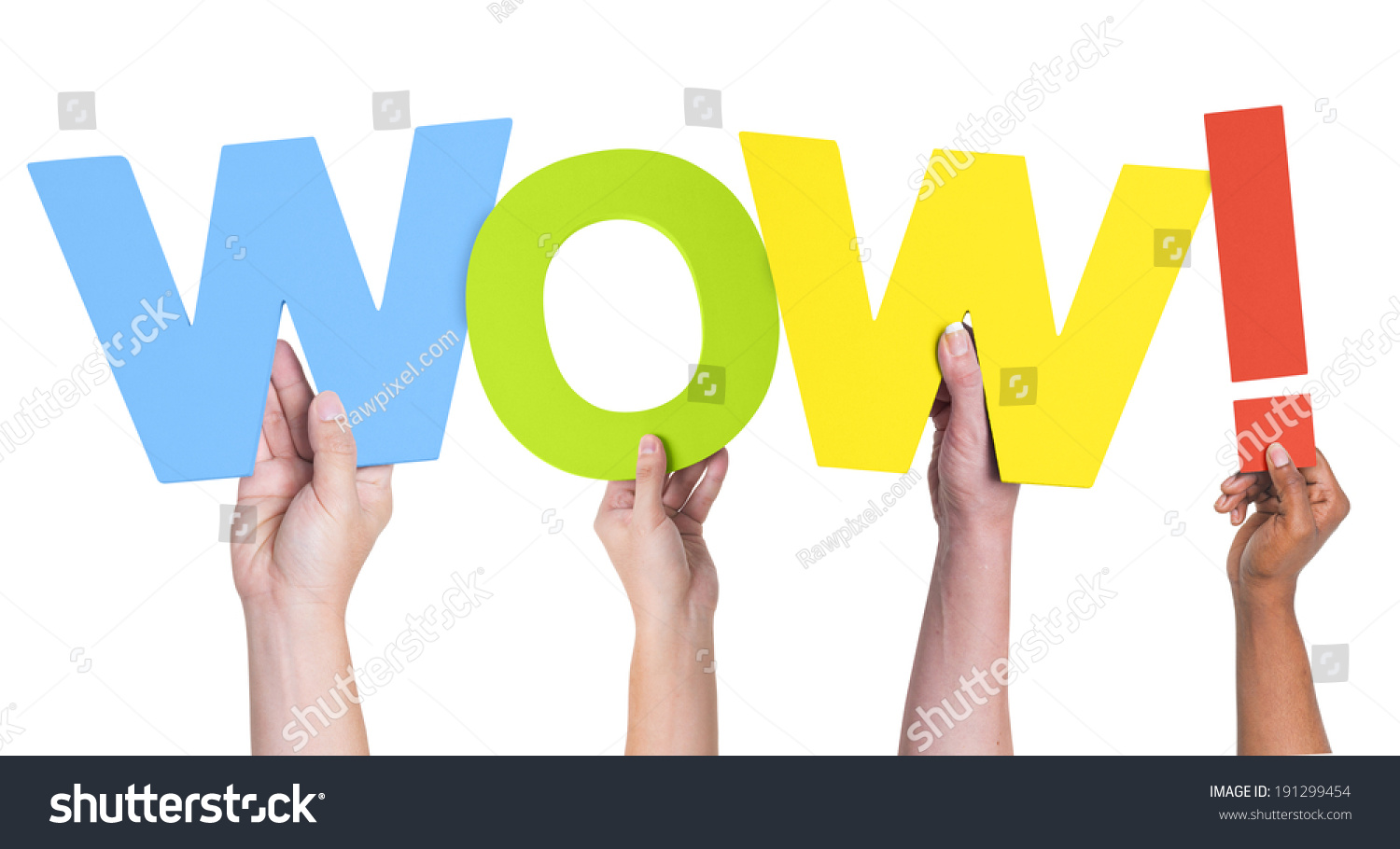 Multiethnic Hands Holding Text Wow Exclamation Stock Photo ...