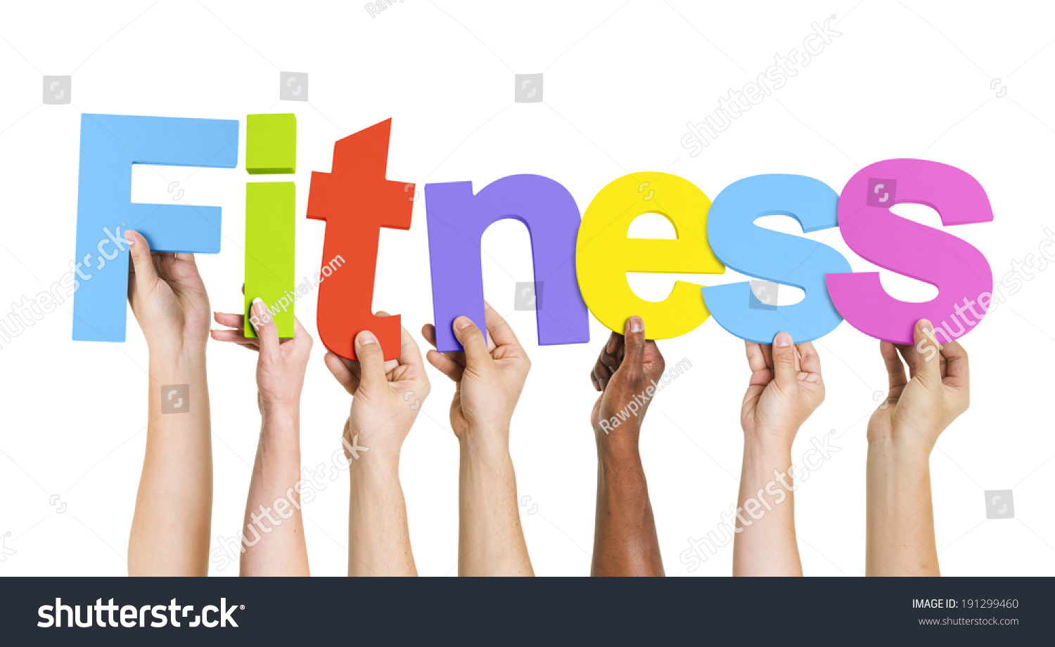 Multiethnic Hands Holding Text Fitness Stock Photo ...
