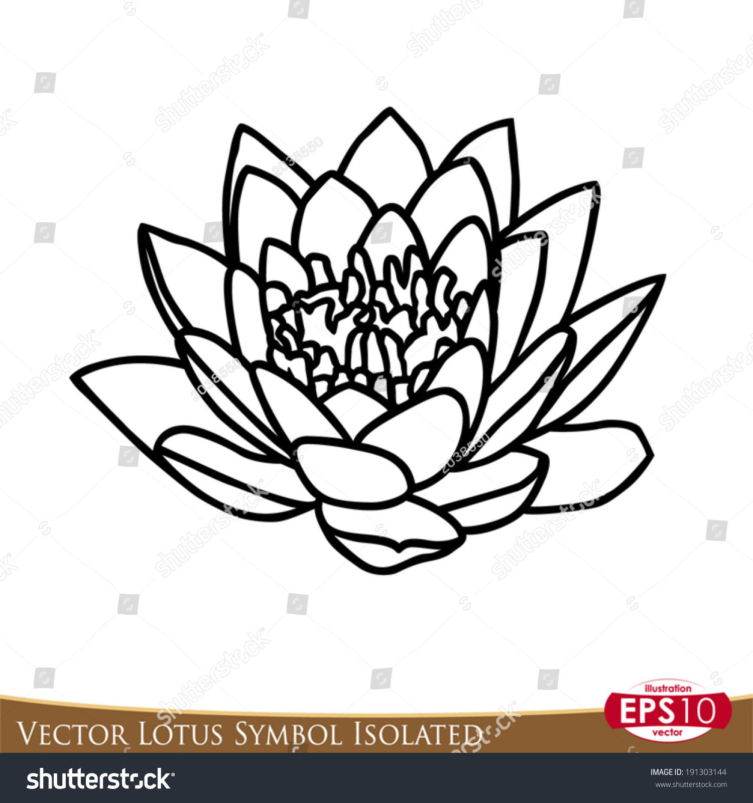Vector Illustration Lotus Flower Isolated On Stock Vector Royalty