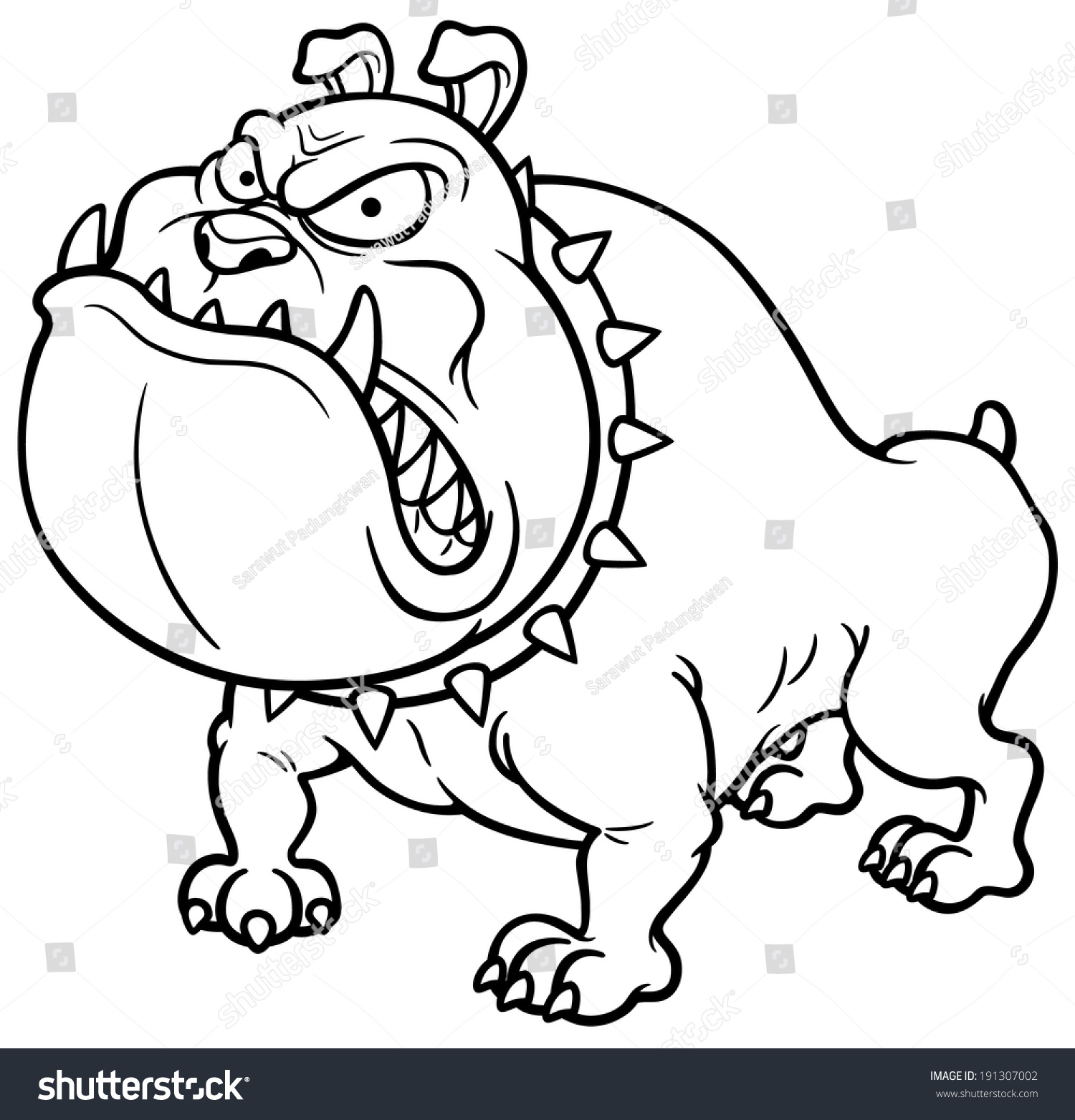 Vector Illustration Angry Dog Coloring Book Stock Vector 191307002 ...