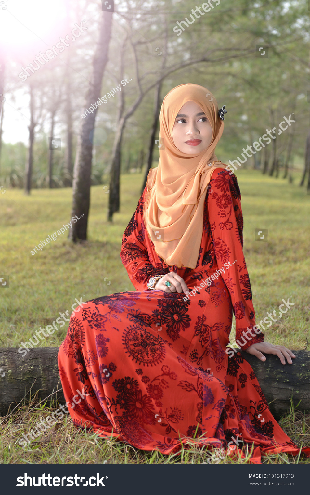 Beautiful Muslim Girl beautiful muslim girl wearing red dress in fairy ...