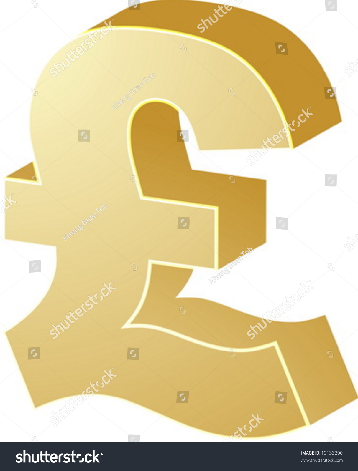 British Uk Pounds Currency Symbol Isometric Stock Vector 19133200