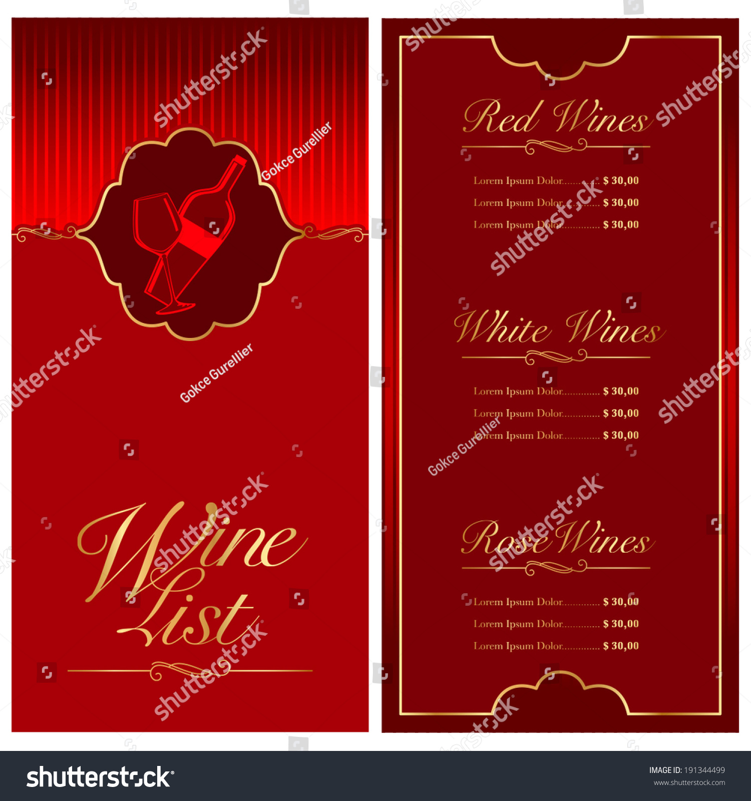 Vector Wine List Menu Design Bar Stock Vector 191344499 - Shutterstock
