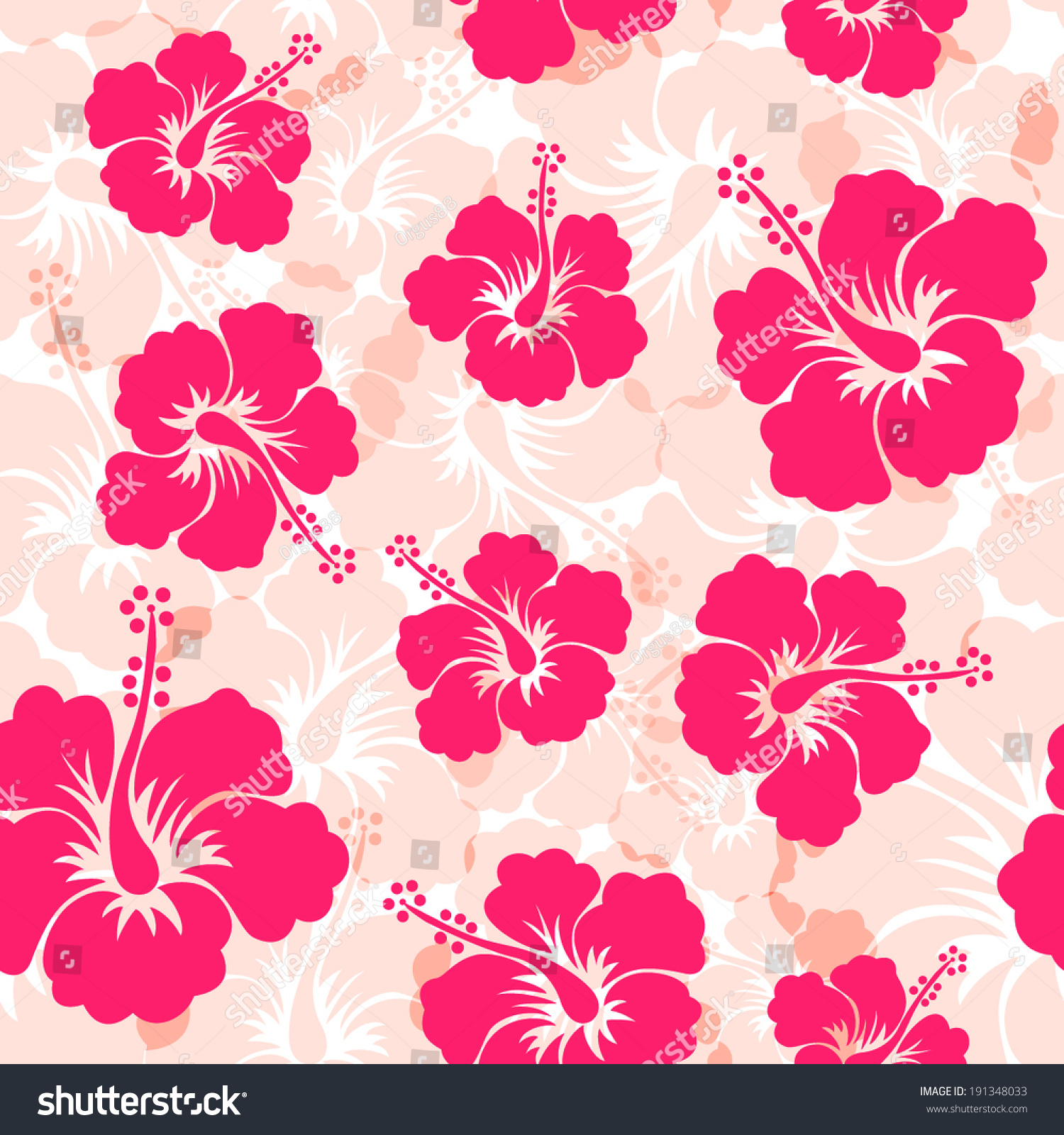 Seamless Pattern With Hibiscus Flowers Flower Background Hawaiian