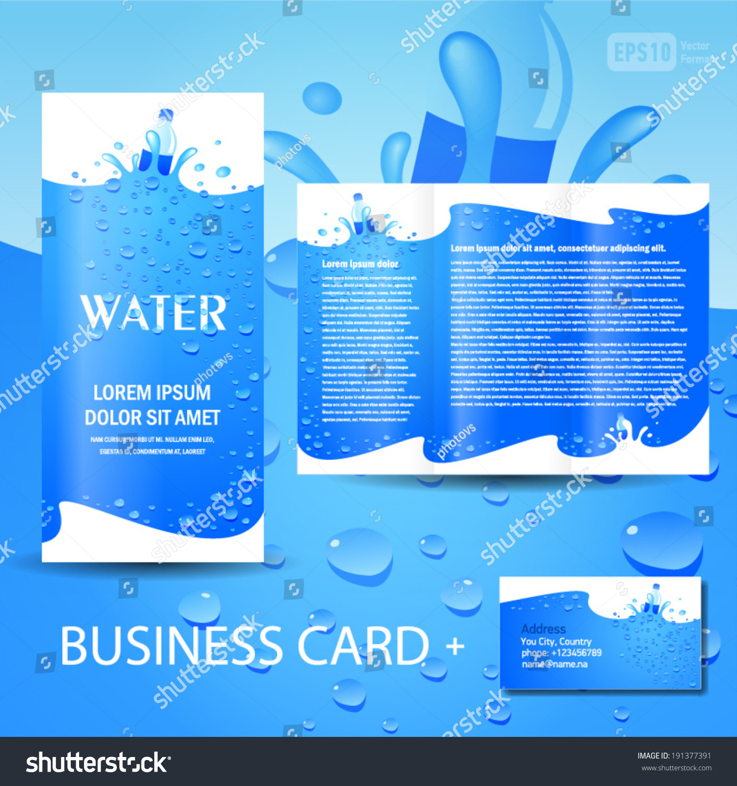 Brochure Template Water Aqua Splash Bottle Stock Vector 191377391 ...