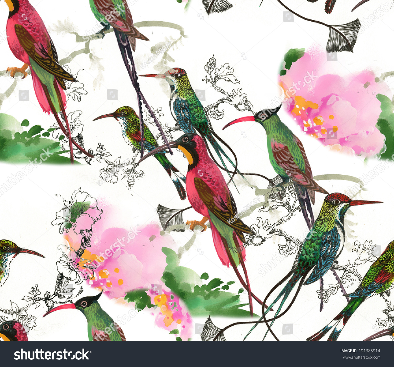 Drawing Beautiful Bright Birds Flowers Seamless Stock Illustration