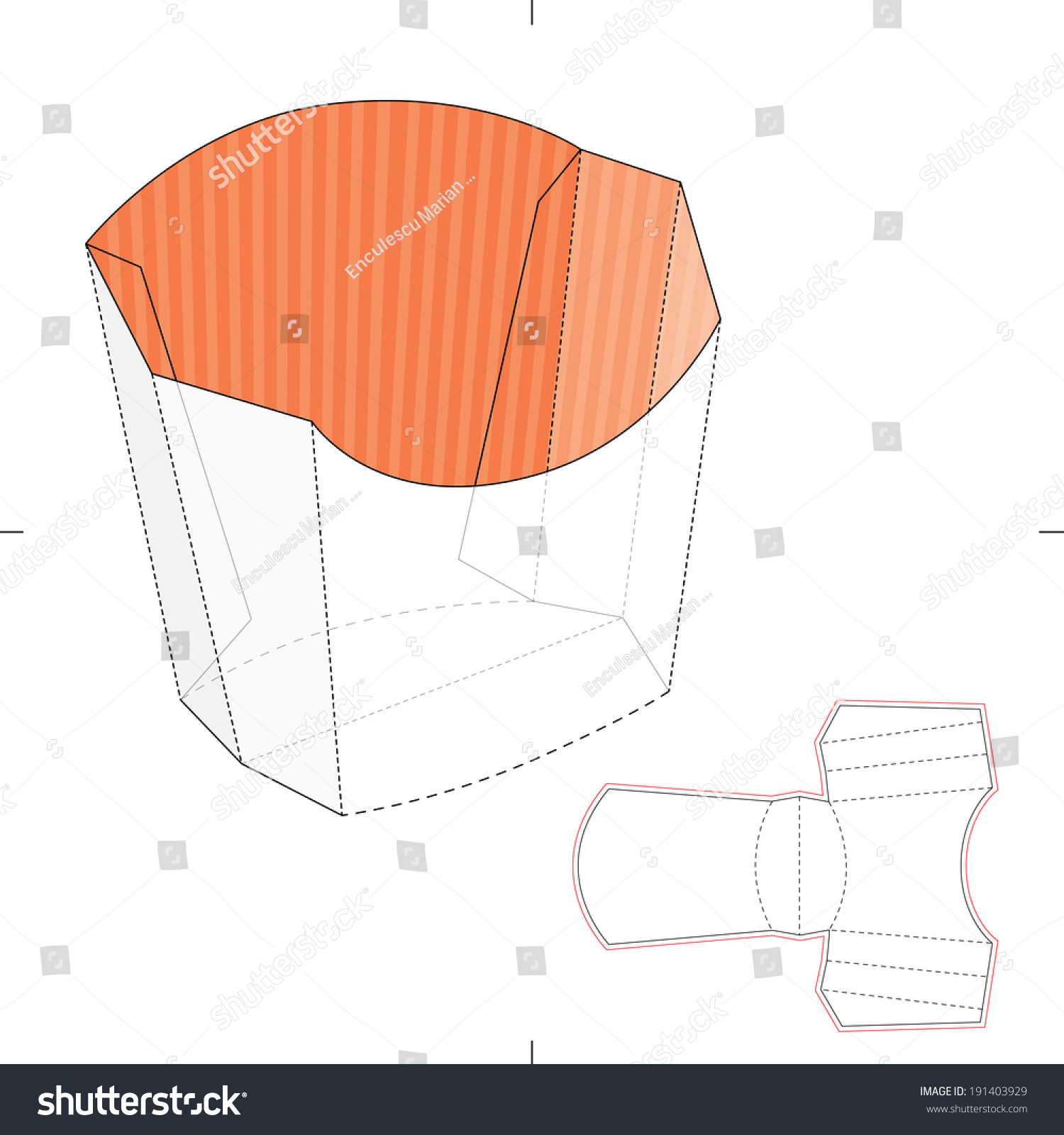 French fries disposable paper box die stock vector for French fries packaging template