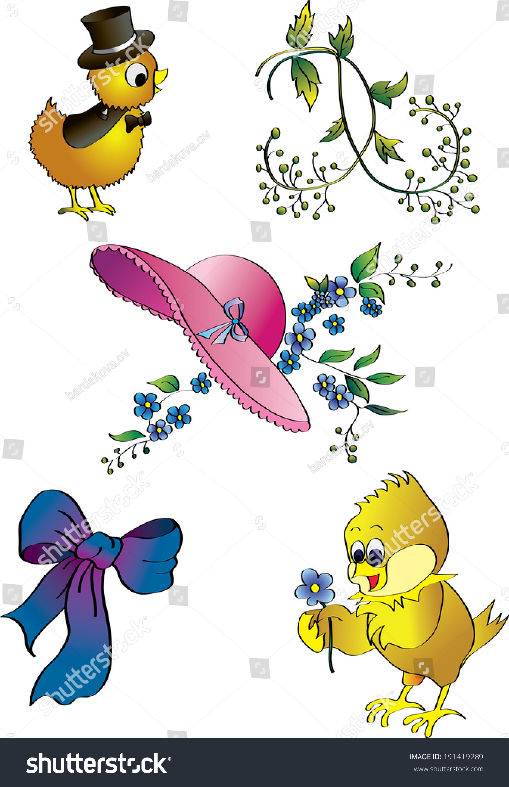 Clip Art Spring Flowers Chickens Stock Illustration 191419289