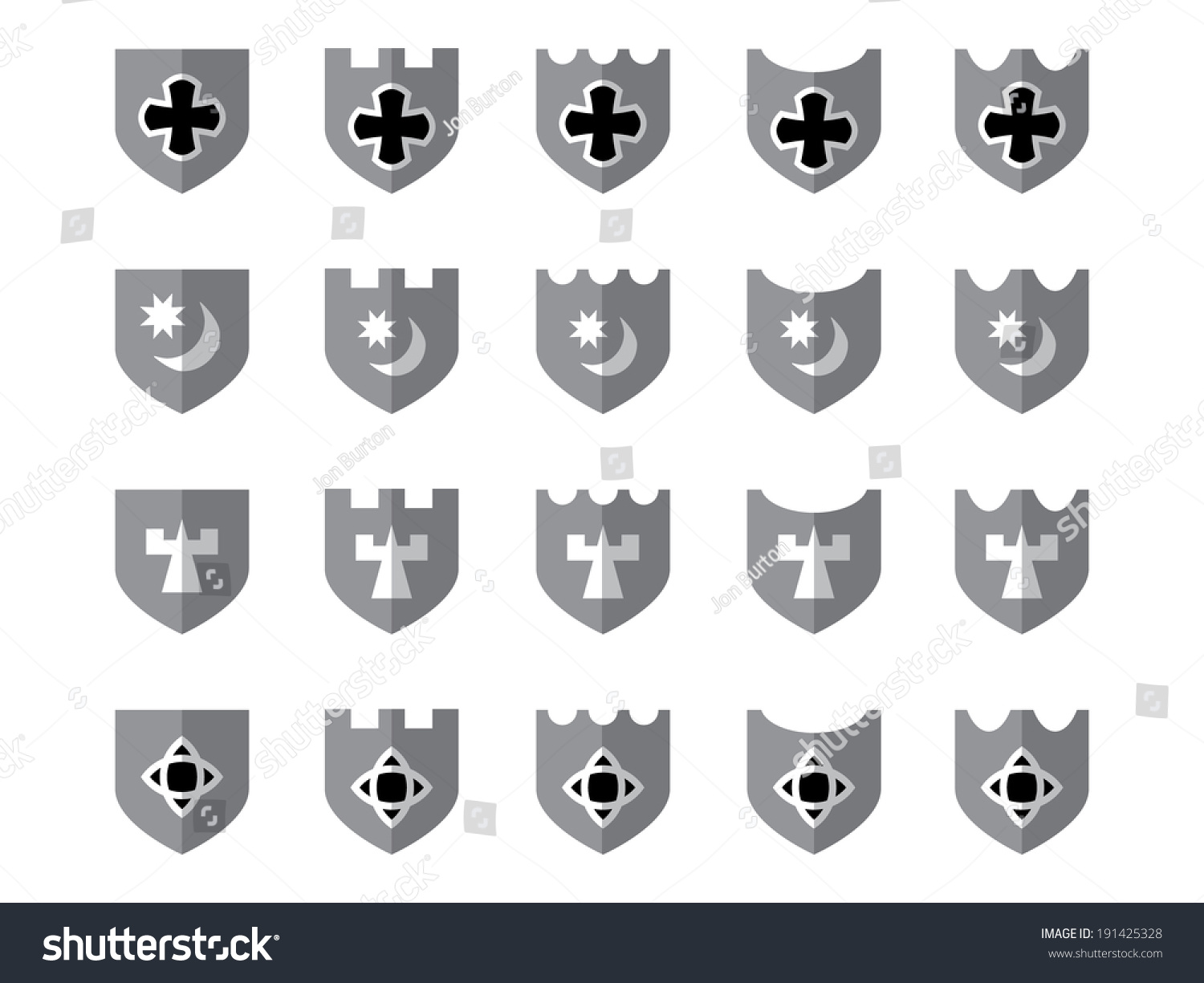 20 Shiny Medieval Shields Grayscale Black Stock Vector Royalty Free