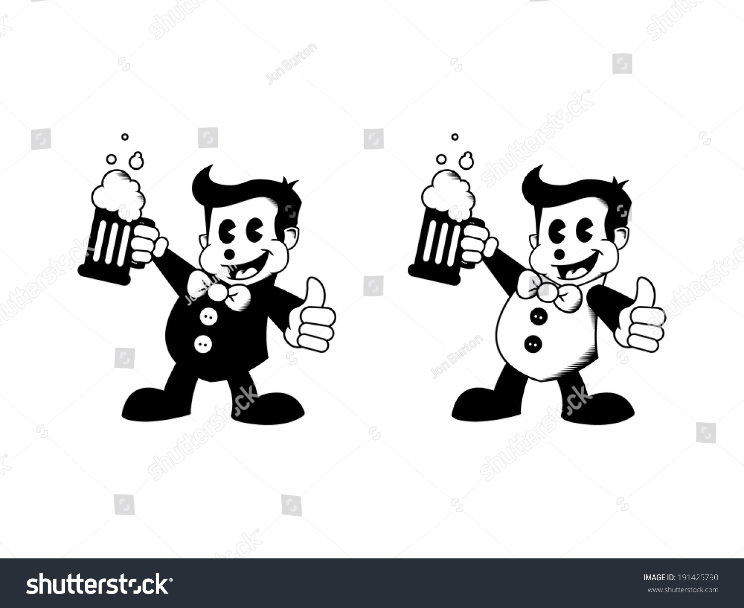 Cartoon Characters 50s : Two s cartoon characters with beer and thumbs up stock