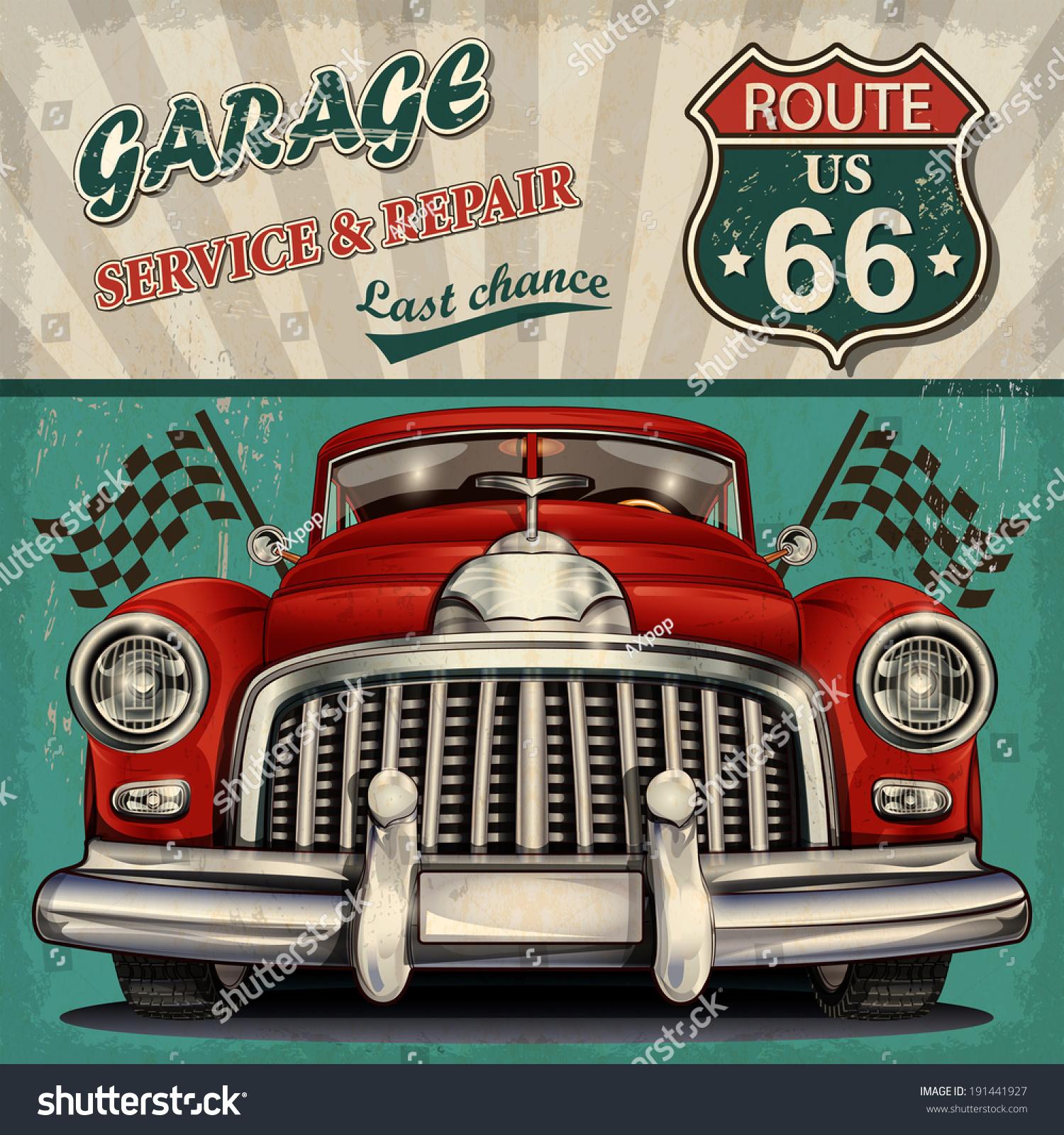 Vintage Garage Retro Poster Stock Vector 191441927