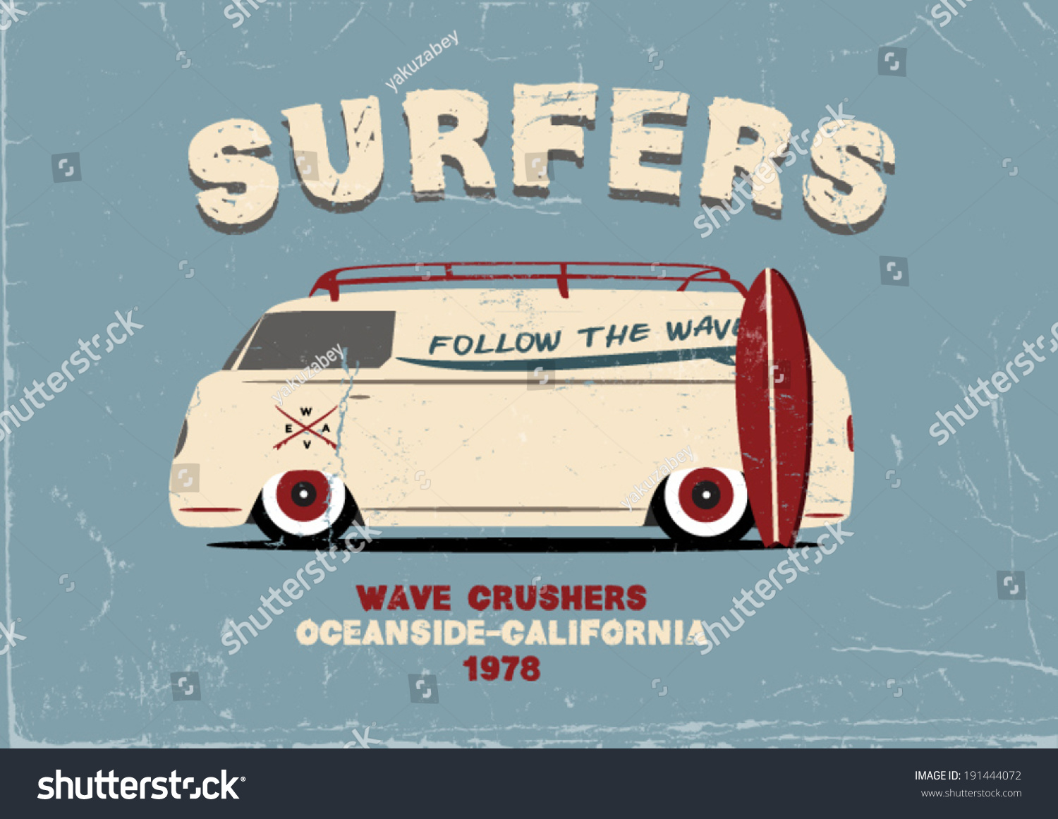 Poster design and printing - Surfer Van Poster Design Apparel Printing Vector Illustration T Shirt Design