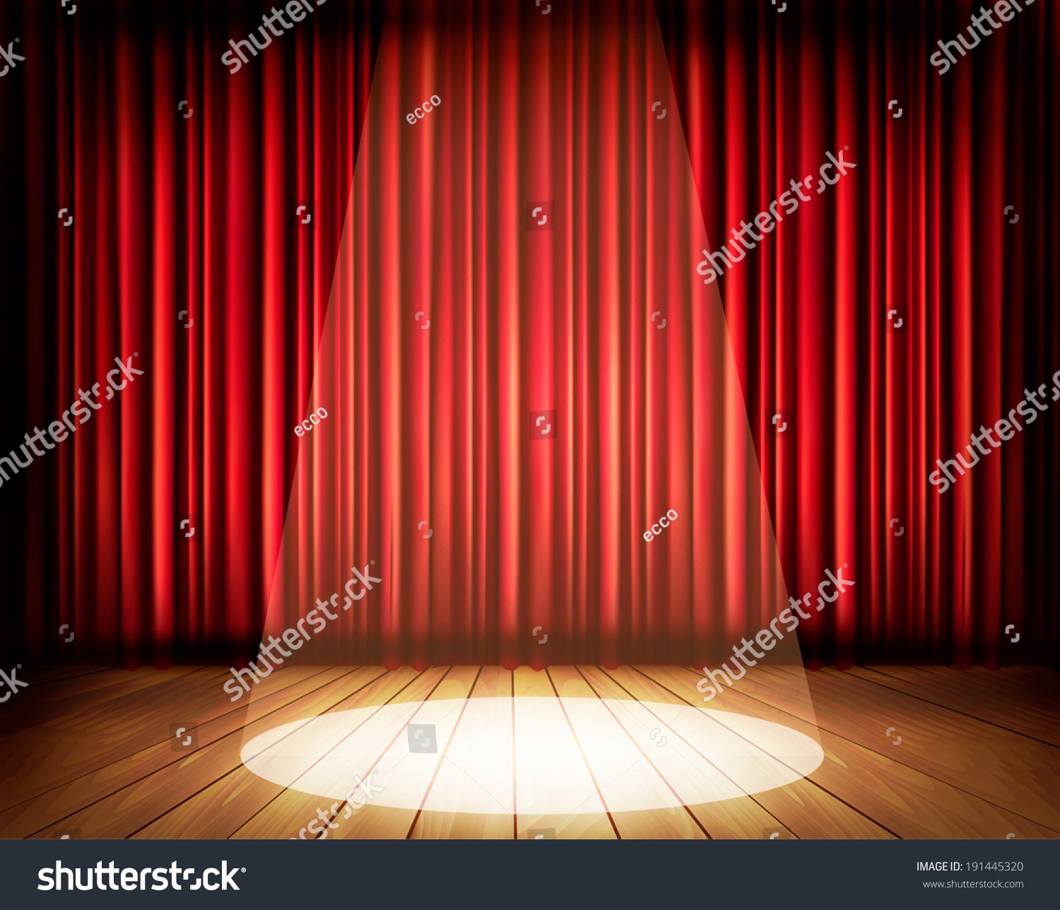 Stage curtains spotlight - A Theater Stage With A Red Curtain And A Spotlight Vector