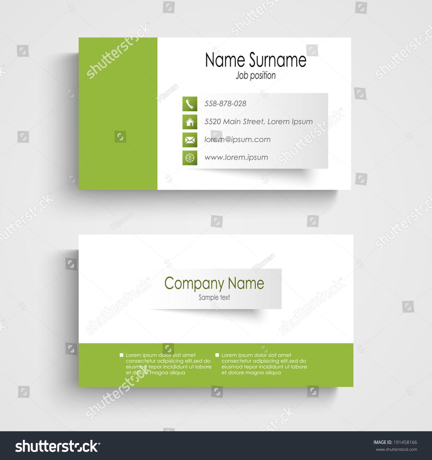 Modern Green Business Card Template Stock Vector 191458166 ...
