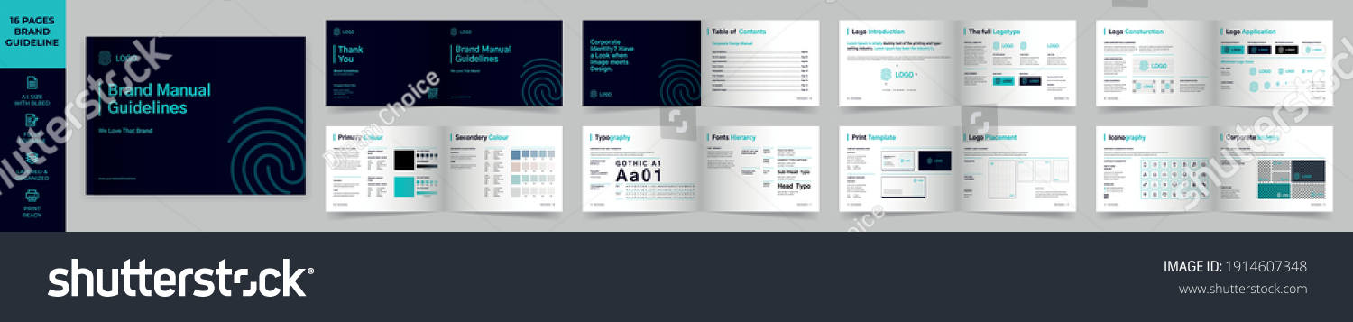 Landscape Brand Manual Template, Simple style and modern layout Brand Book, Brand Identity, Brand Guideline, Guide Book #1914607348