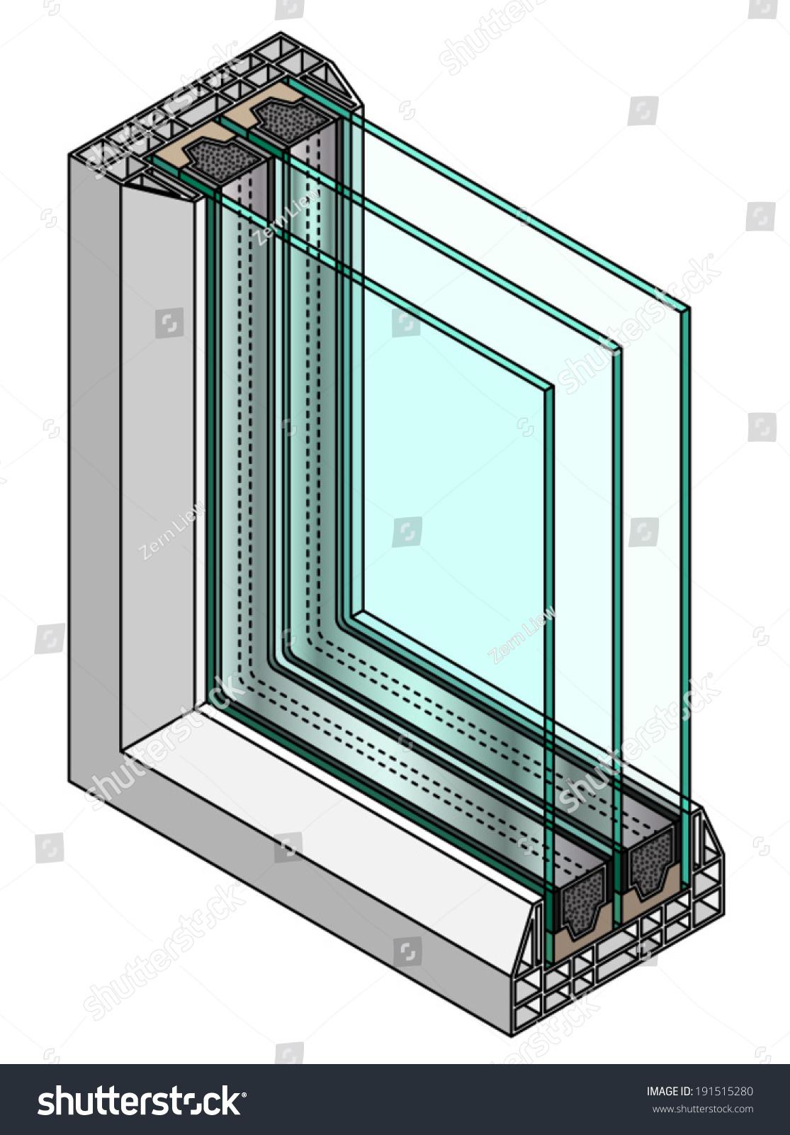 Crosssection Diagram Triple Glazed Window Stock Vector 191515280 ...