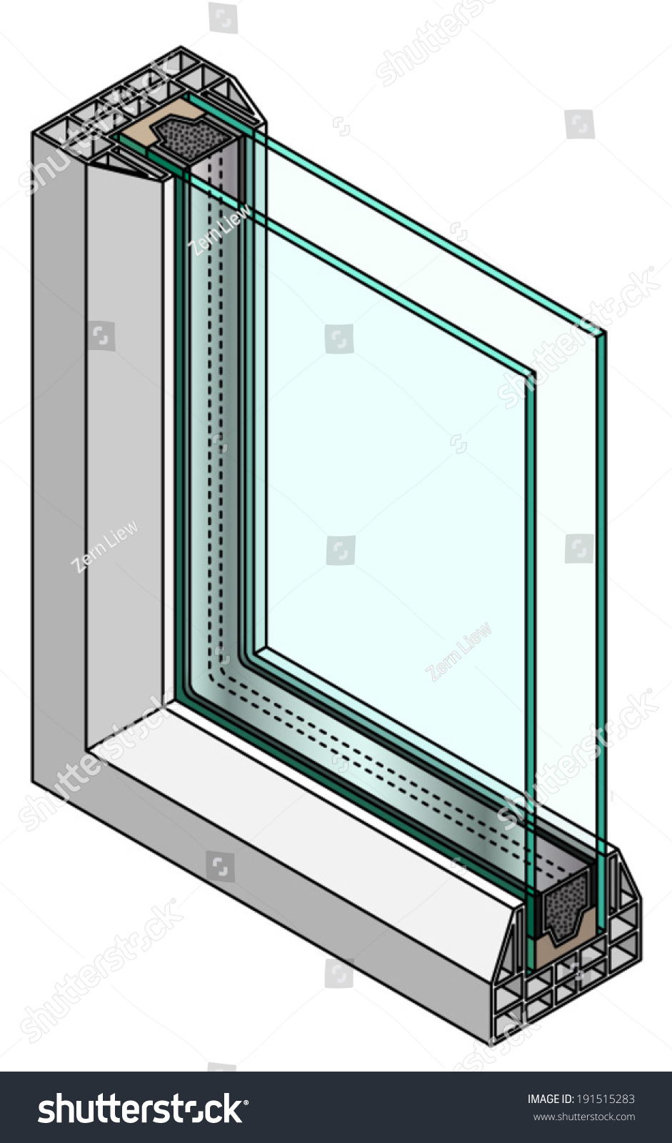 Crosssection diagram double glazed window stock vector for Double glazed window glass