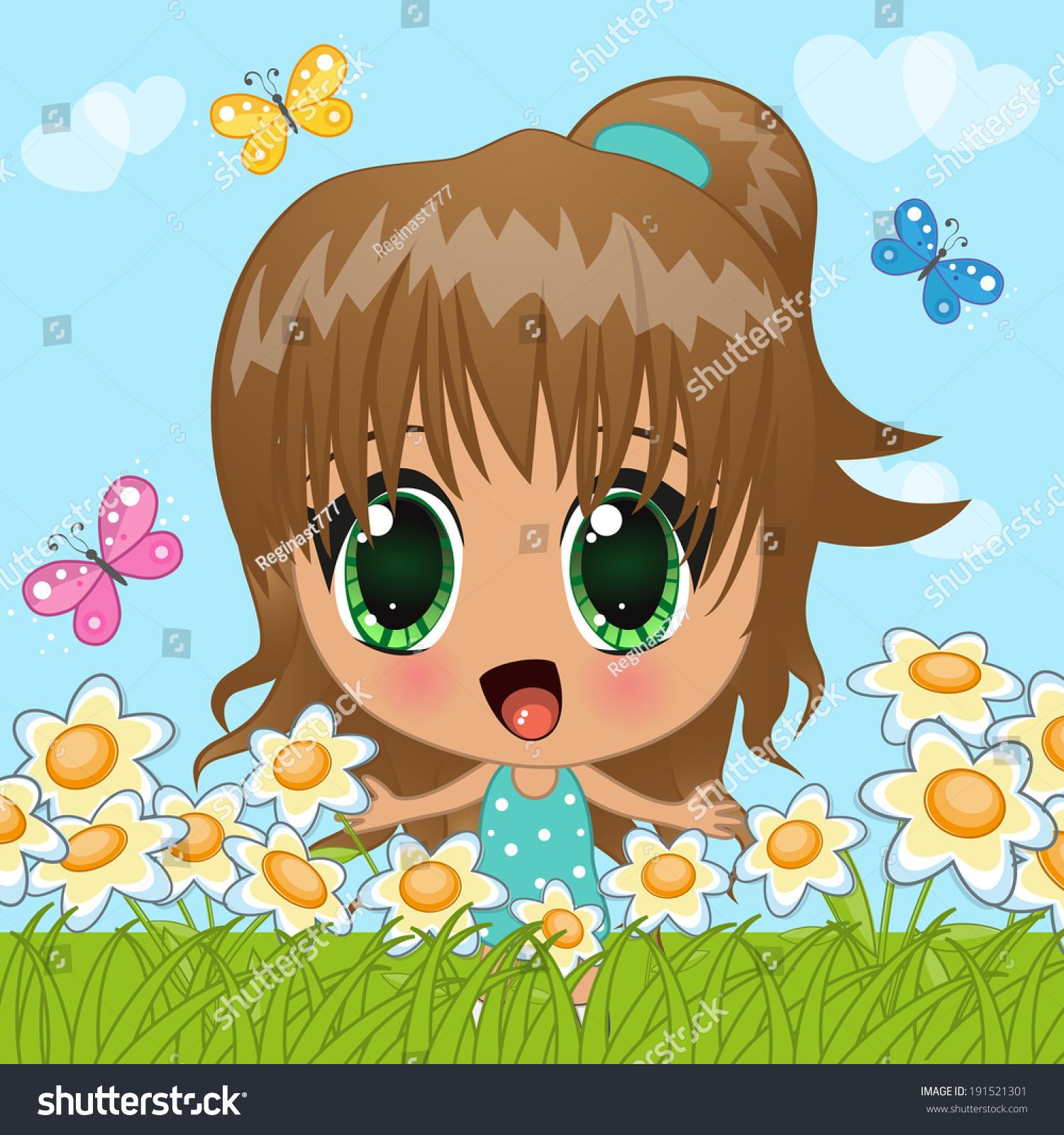 cute anime girl butterflies flowers stock vector (royalty free