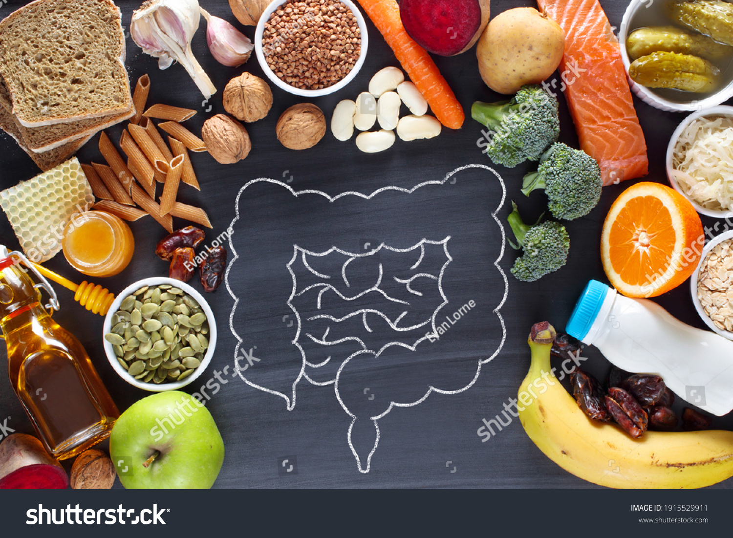 Natural products for healthy bowel. Top view #1915529911