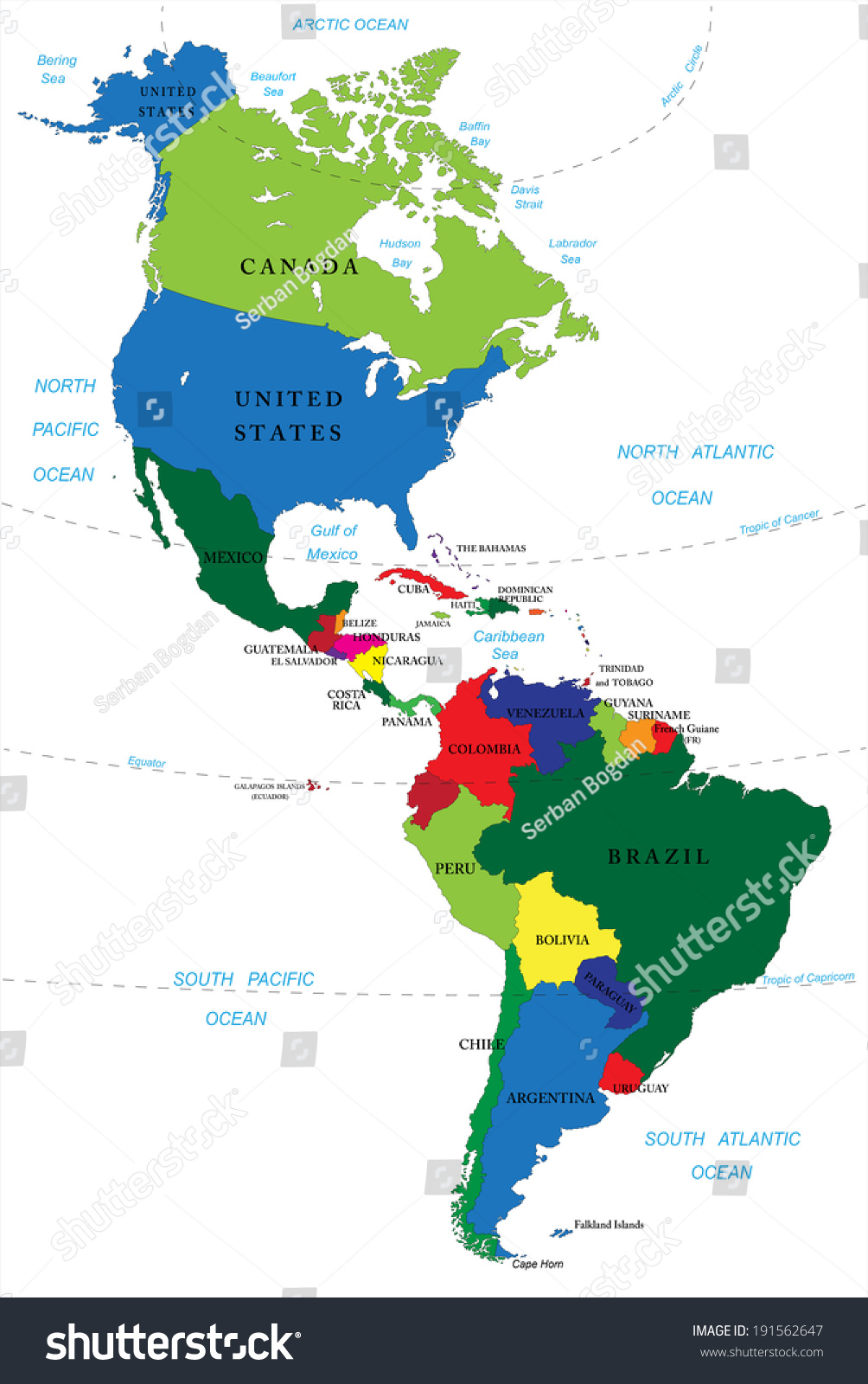 Map Of North America And South America North South America Map Stock Vector (Royalty Free) 191562647  Map Of North America And South America