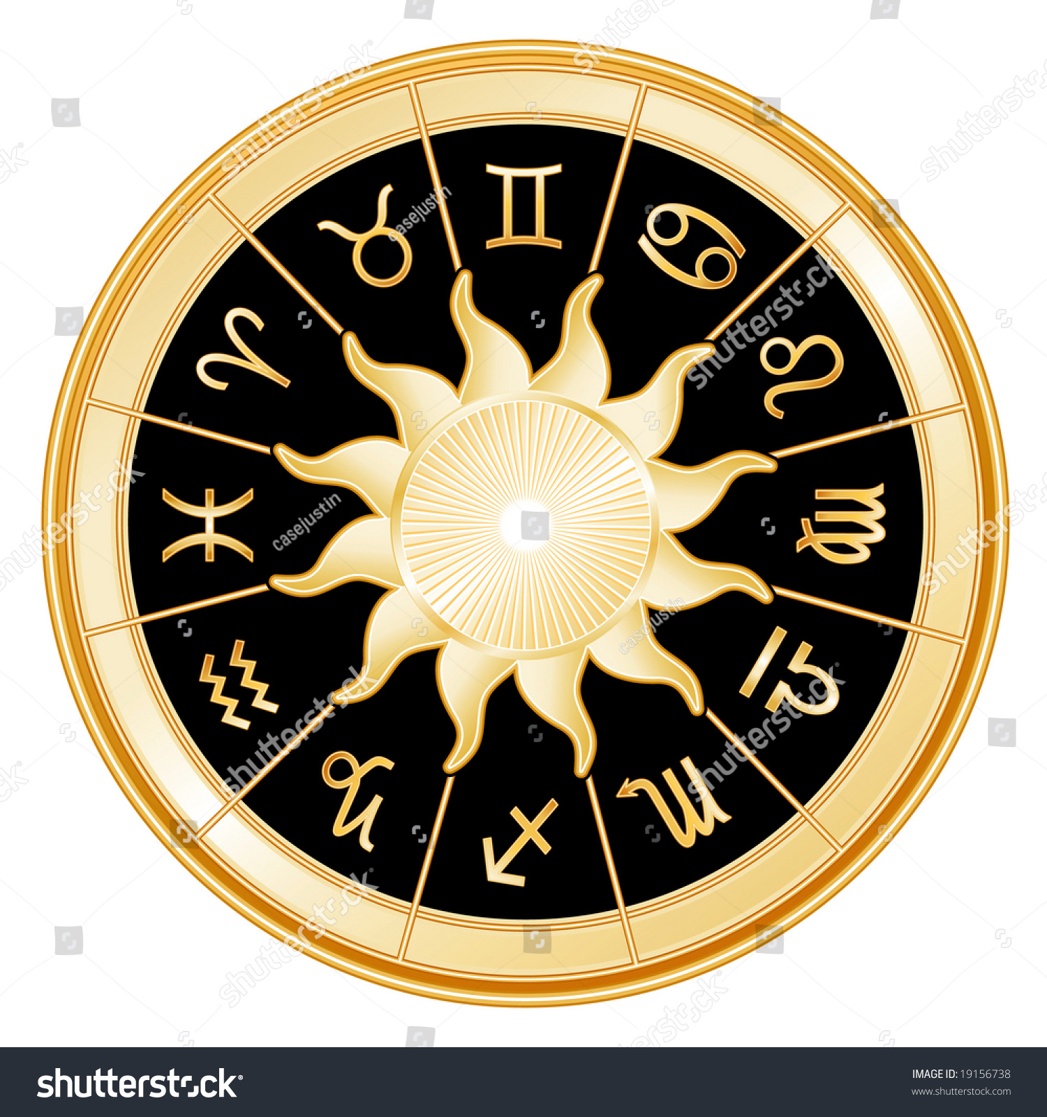 Horoscope Signs Zodiac 12 Astrology Symbols Stock Illustration