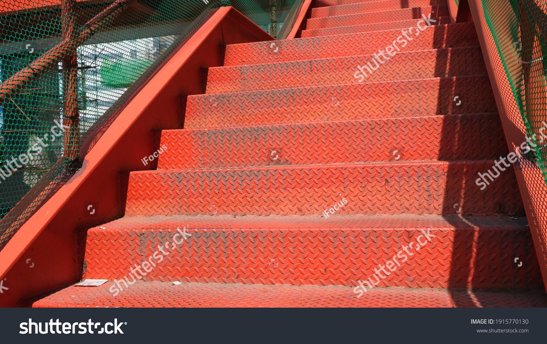 stock-photo-outdoor-temporary-iron-stair