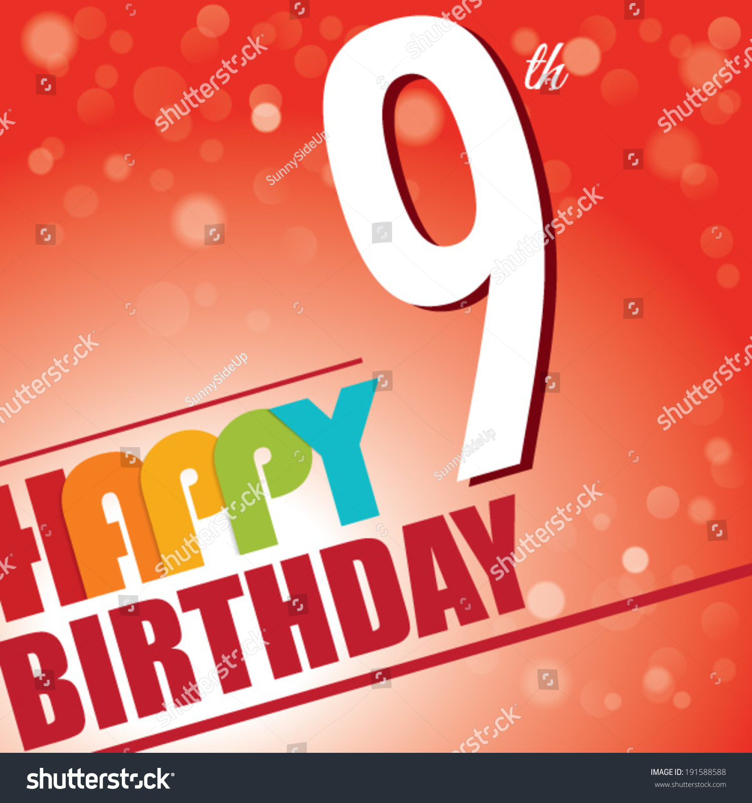 9th Birthday Party Invitetemplate Design Bright Stock Vector ...