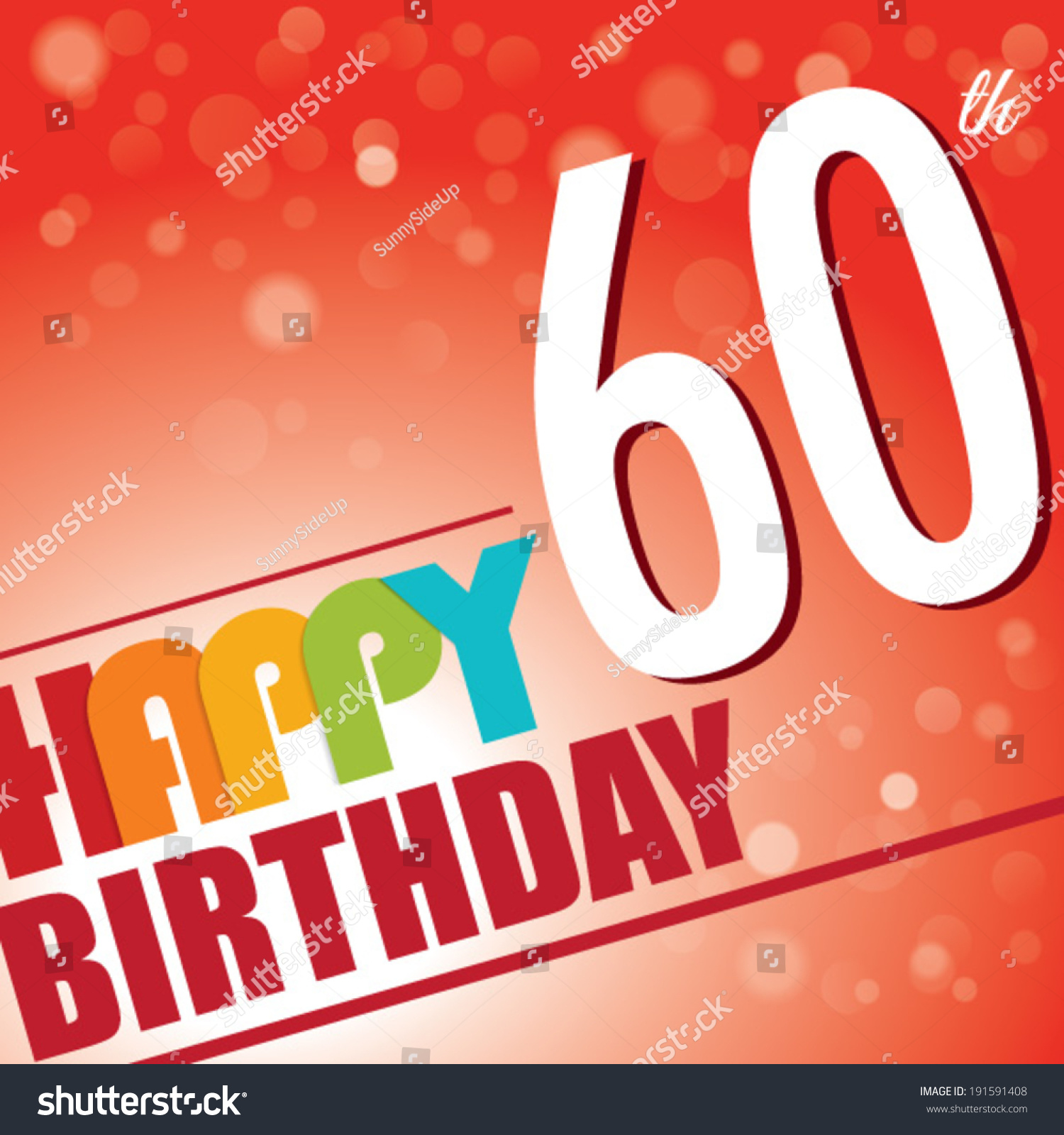 60th Birthday Party Invitetemplate Design Bright Stock Vector ...