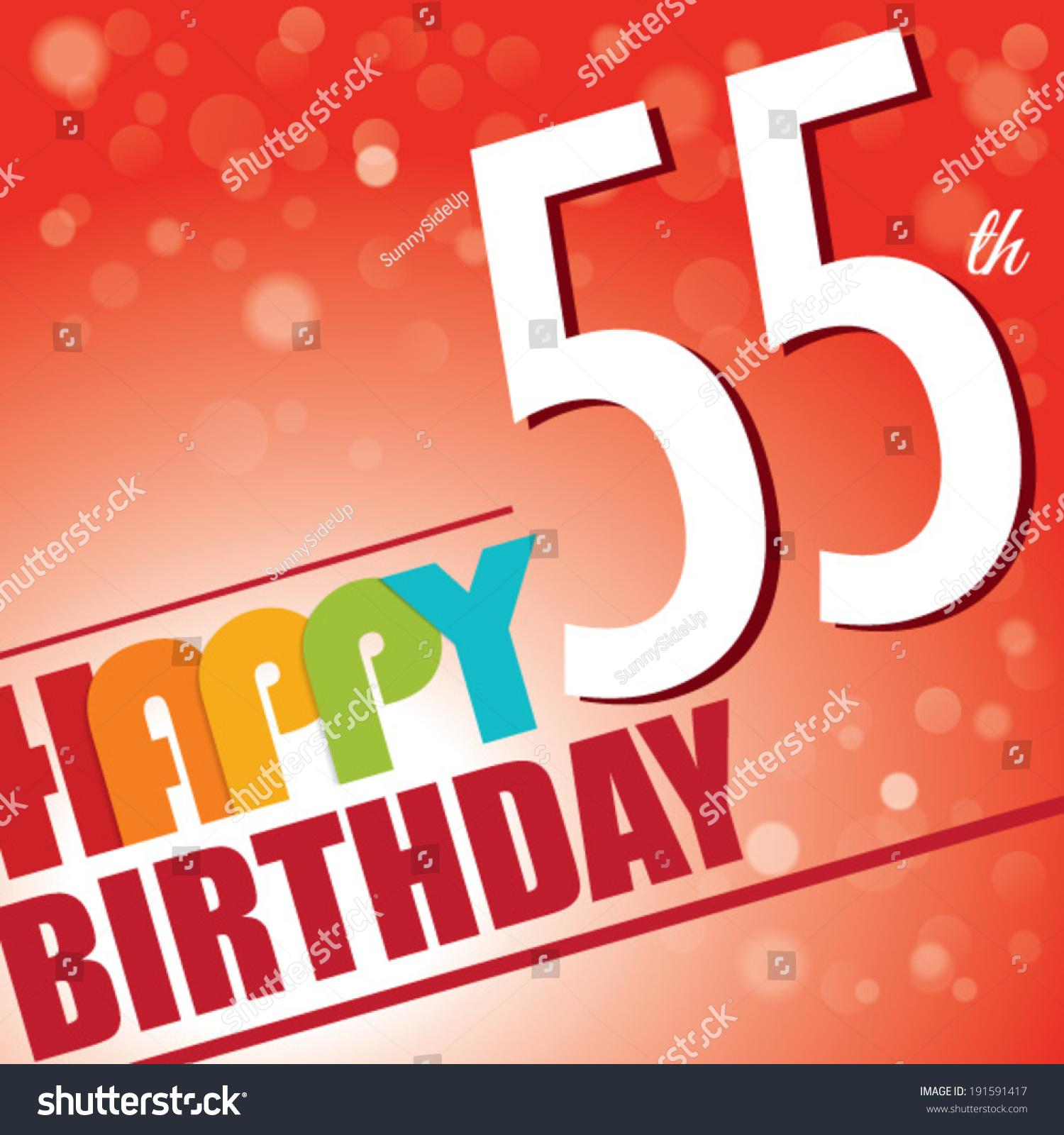 55th Birthday Party Invitetemplate Design Bright Stock Vector