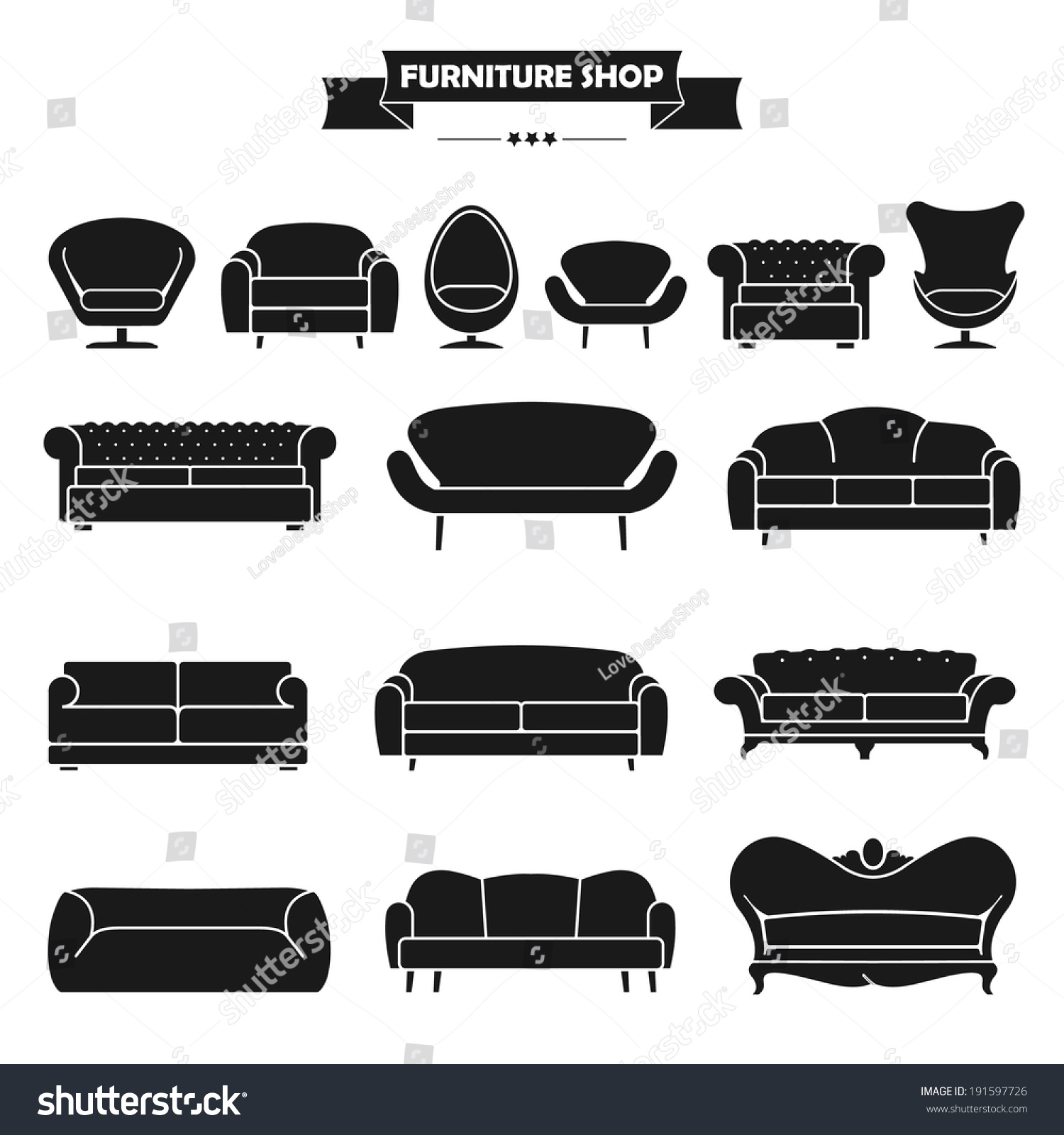 Luxury Modern Sofa Couch Icons Set Stock Vector