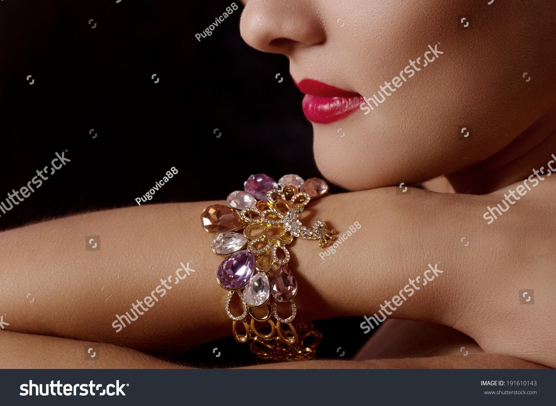 Beautiful Bijouterie Bangles On Hand Fashion Stock Photo 191610143 ...