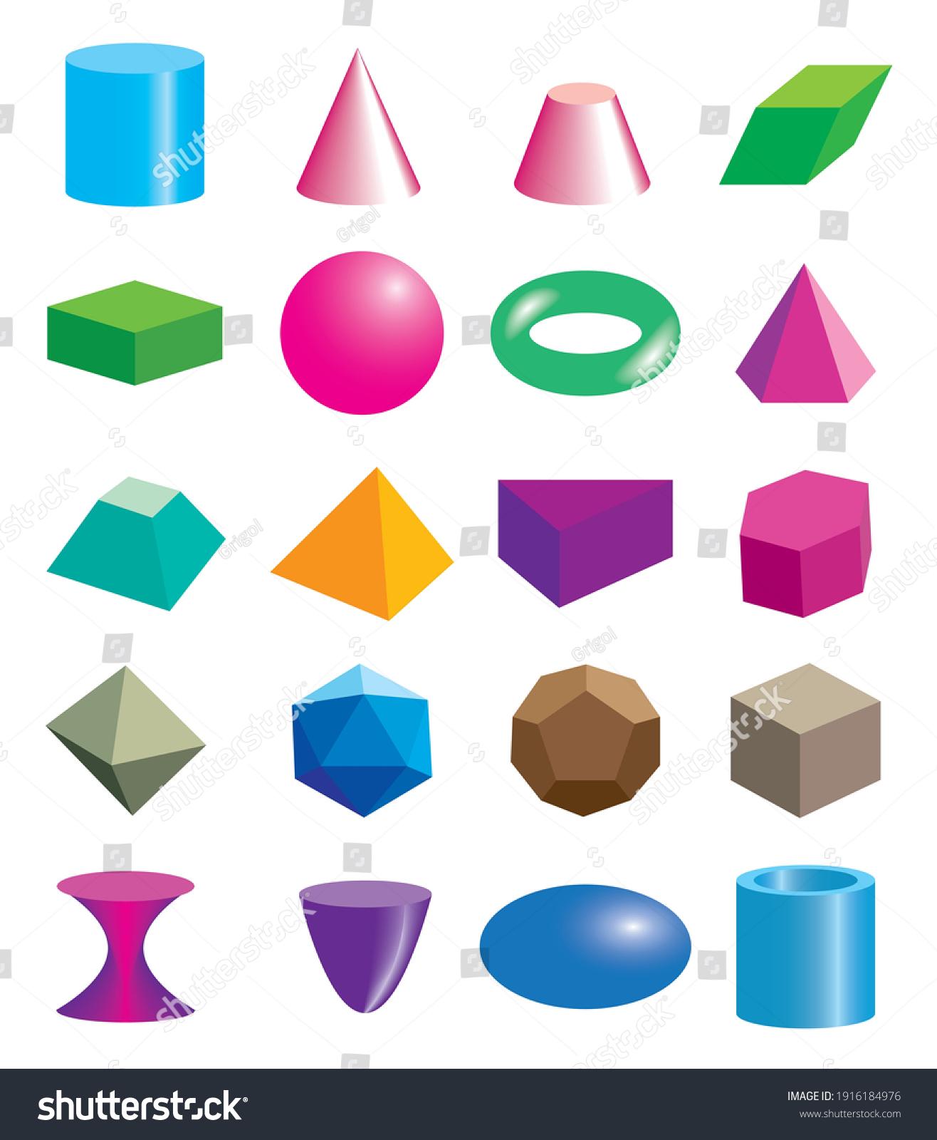 Set of volumetric geometrical colored shapes. Vector illustration #1916184976