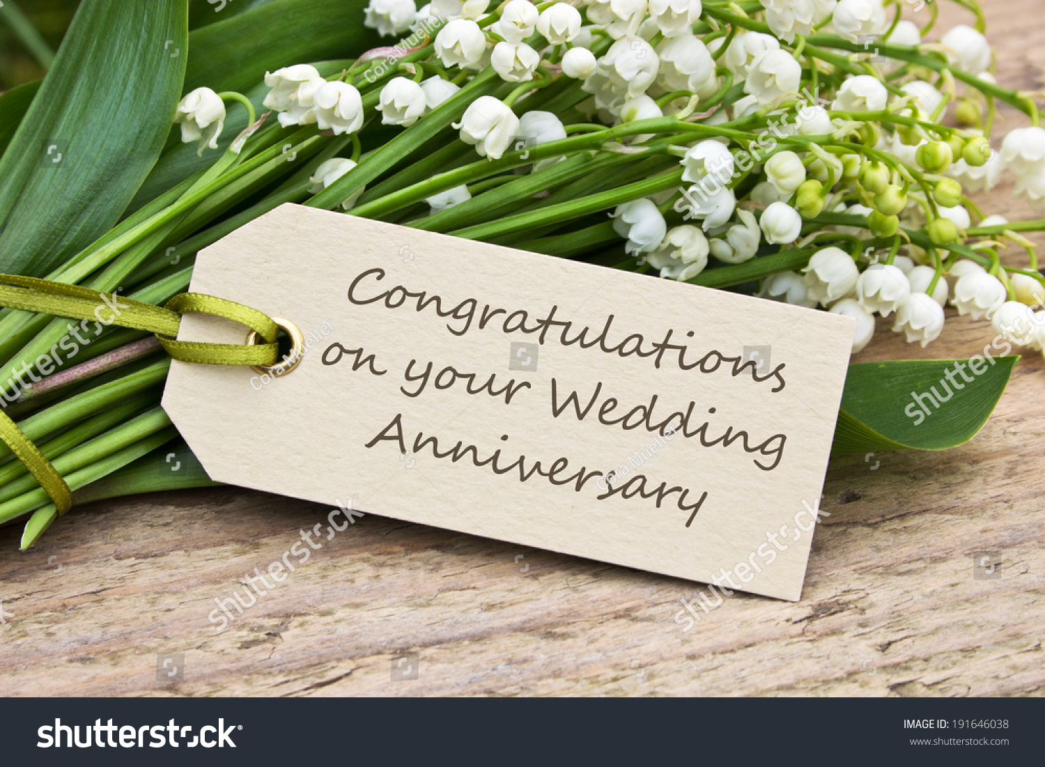 Wedding Anniversary Card With Lily Of The Valley Congratulations On Your Wedding Anniversary