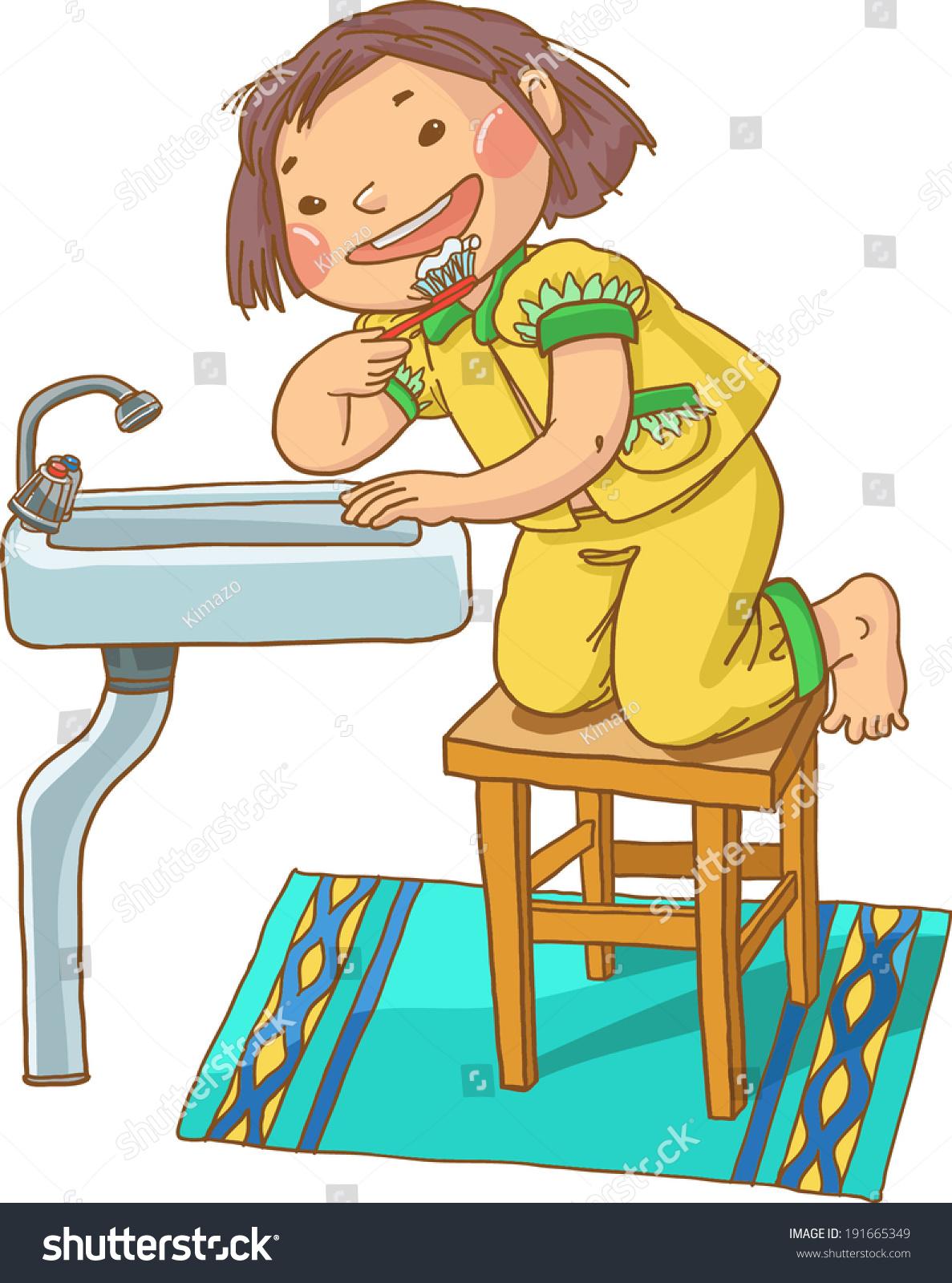 Little Cute Girl Brushing Teeth Children Stock Vector Royalty Free