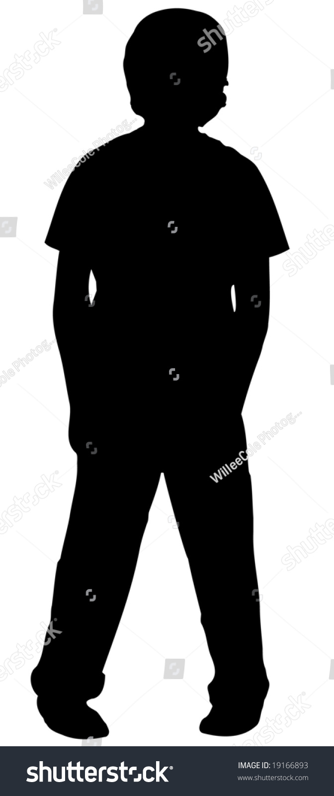 silhouette of a boy standing with his feet pigeon toed