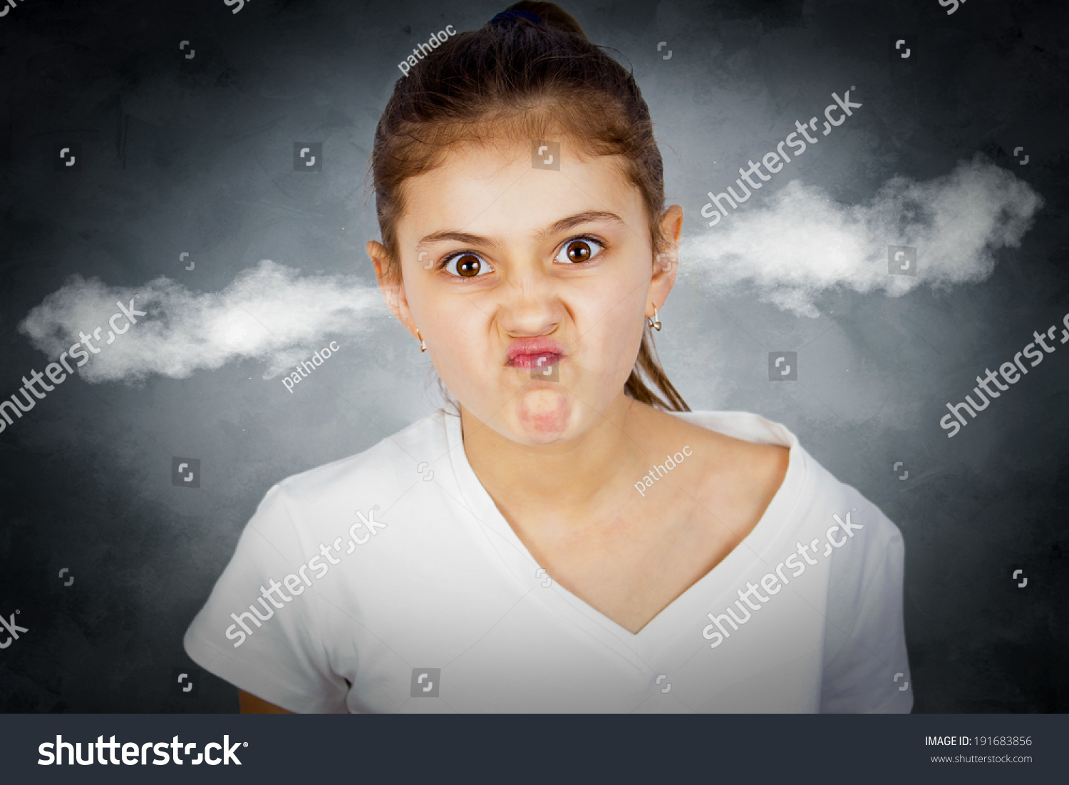 Grimace face clip art stock photo woman pulls a face in upset - Closeup Portrait Angry Young Girl Blowing Steam Coming Out Of Ears About Have Nervous