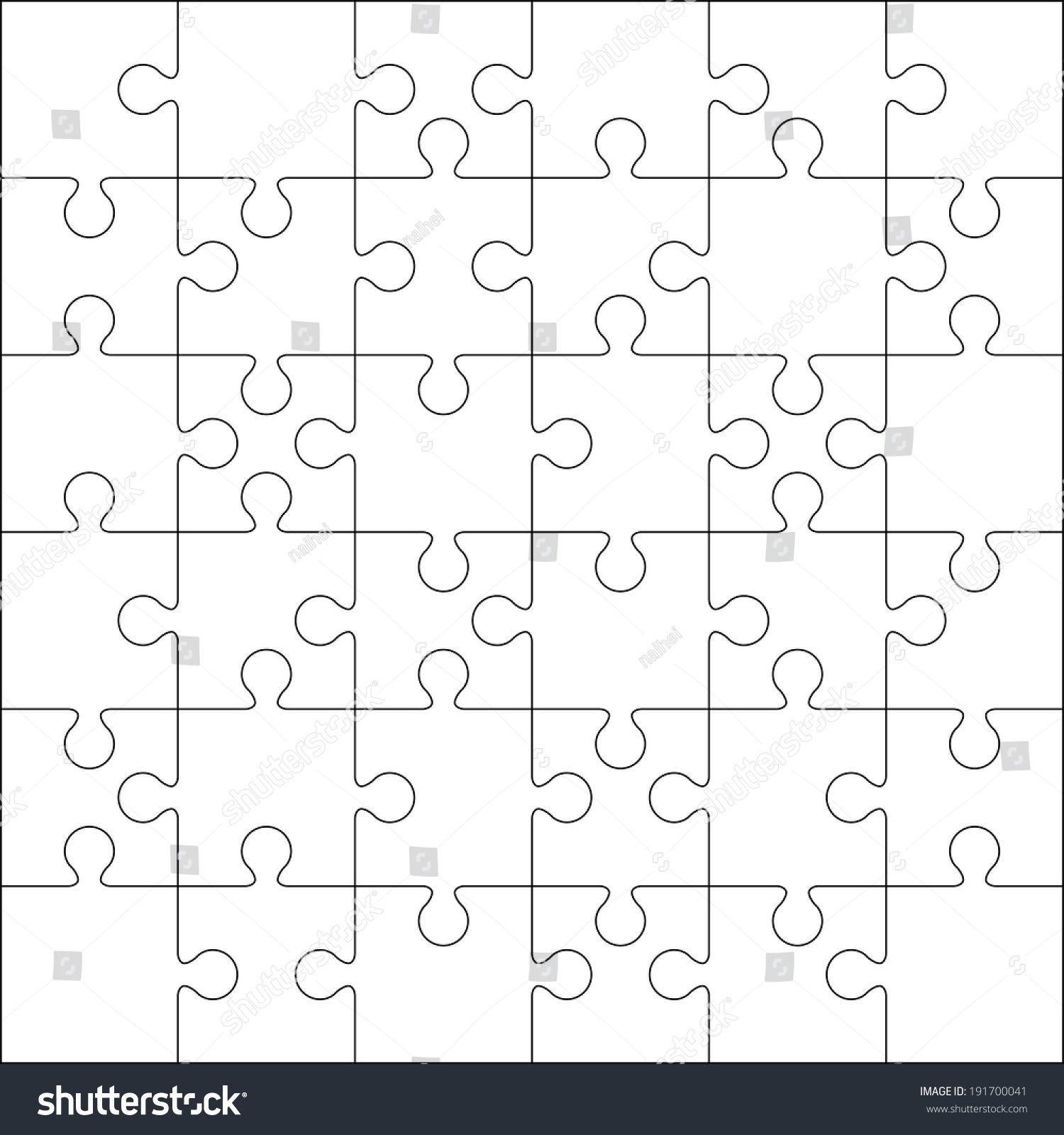 36 Jigsaw Puzzle Blank Template Cutting Stock Vector 191700041 ...