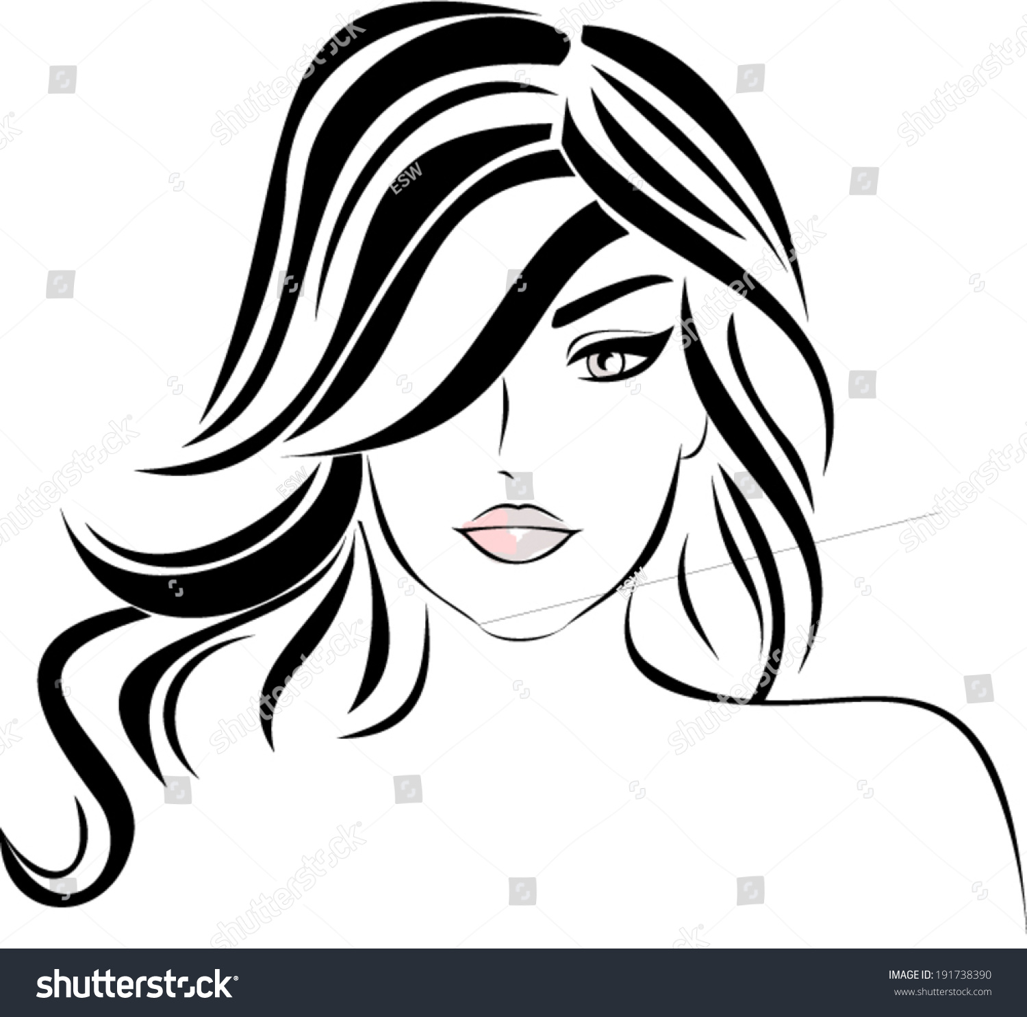 Lovely Female Face Beauty Icon Stock Vector 191738390