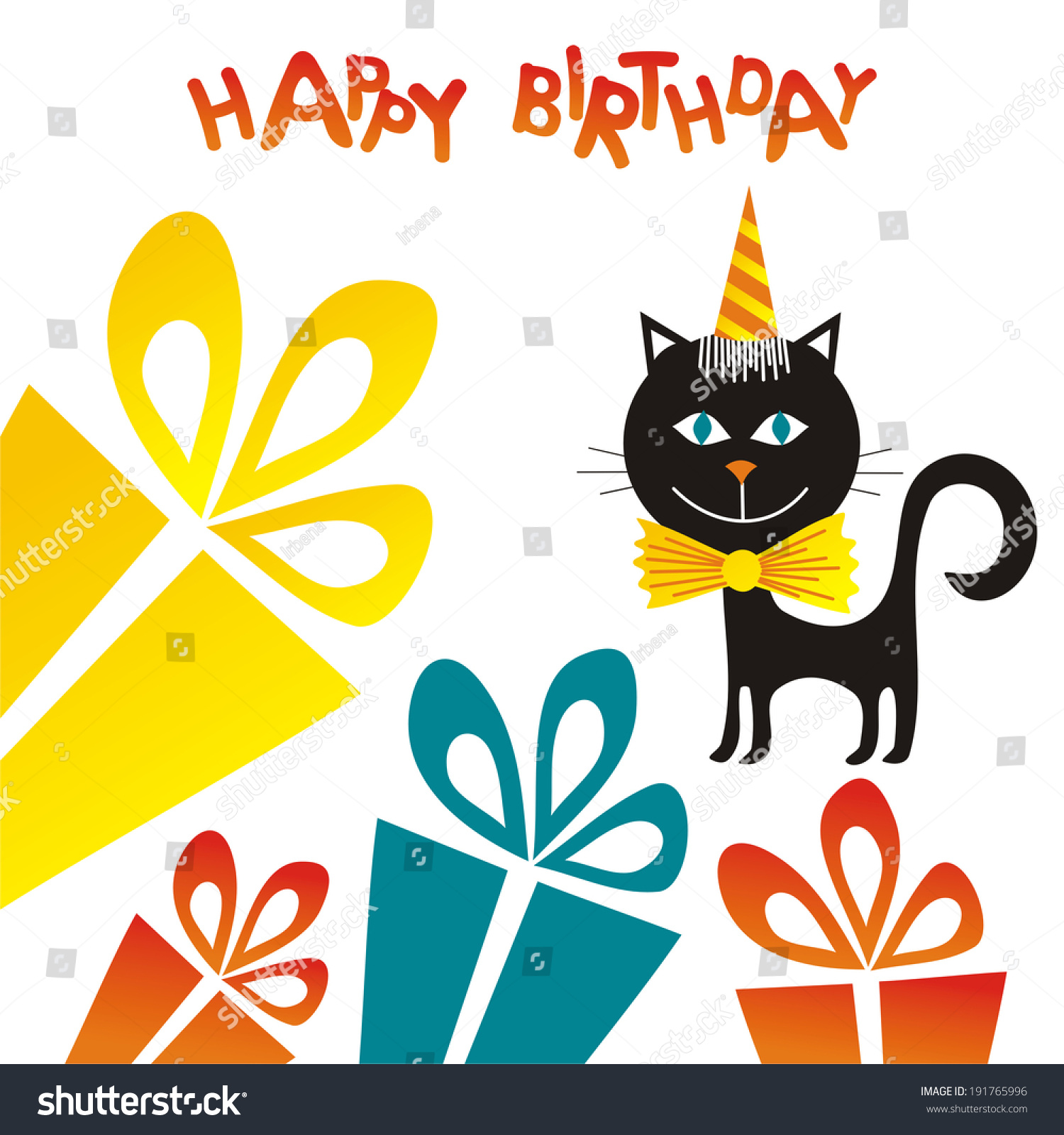 Happy Birthday Greeting Card Black Cat Stock Vector 191765996