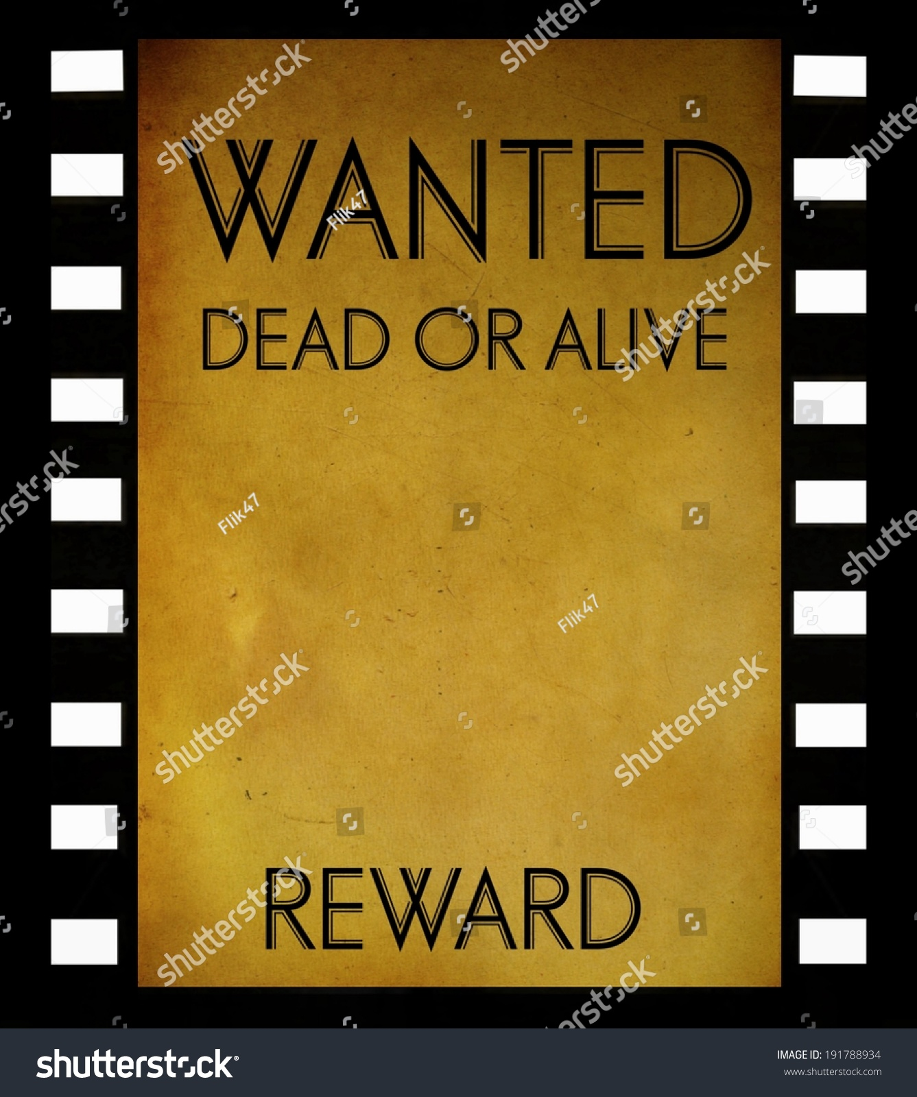 Vintage Wanted Poster Template On Film Stock Illustration 191788934