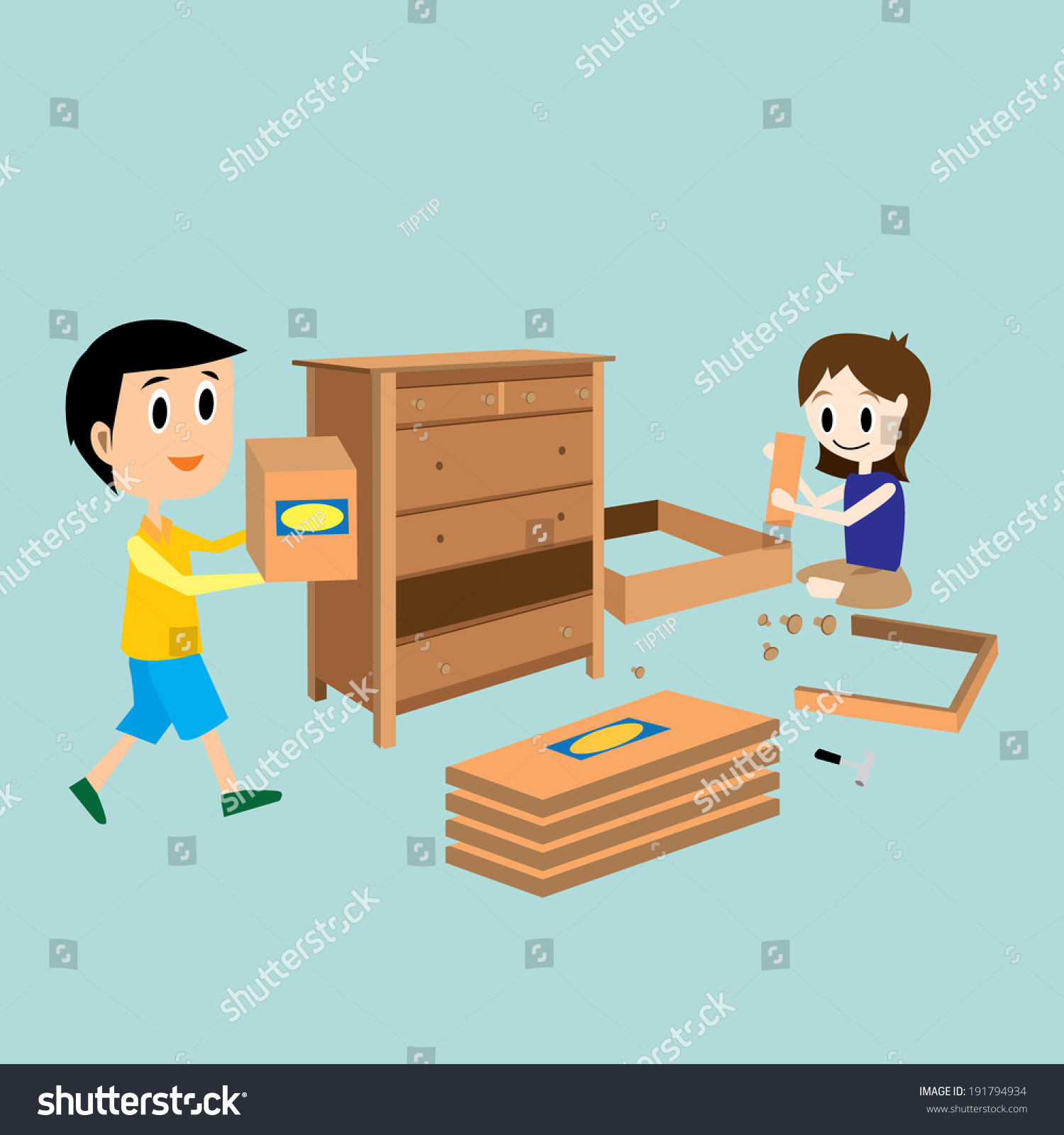 Self Assembly Furniture Vector / Do It Yourself / Home Decorate