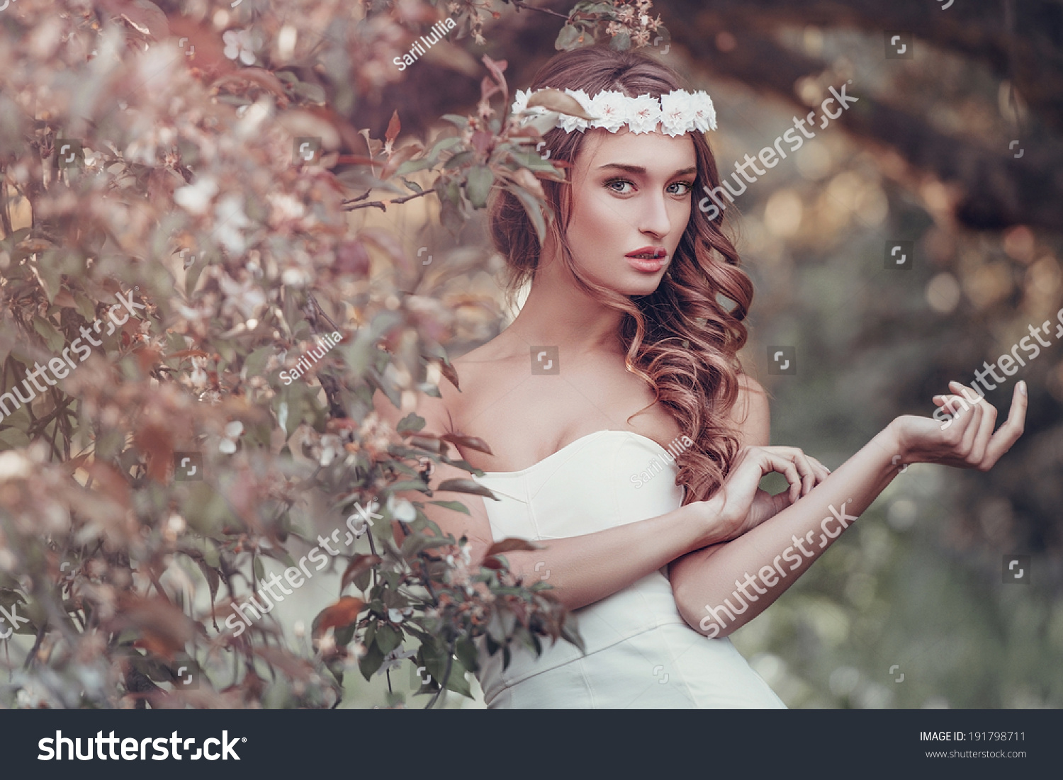 Outdoor Portrait Young Woman Flower Wreath Stock Photo Edit